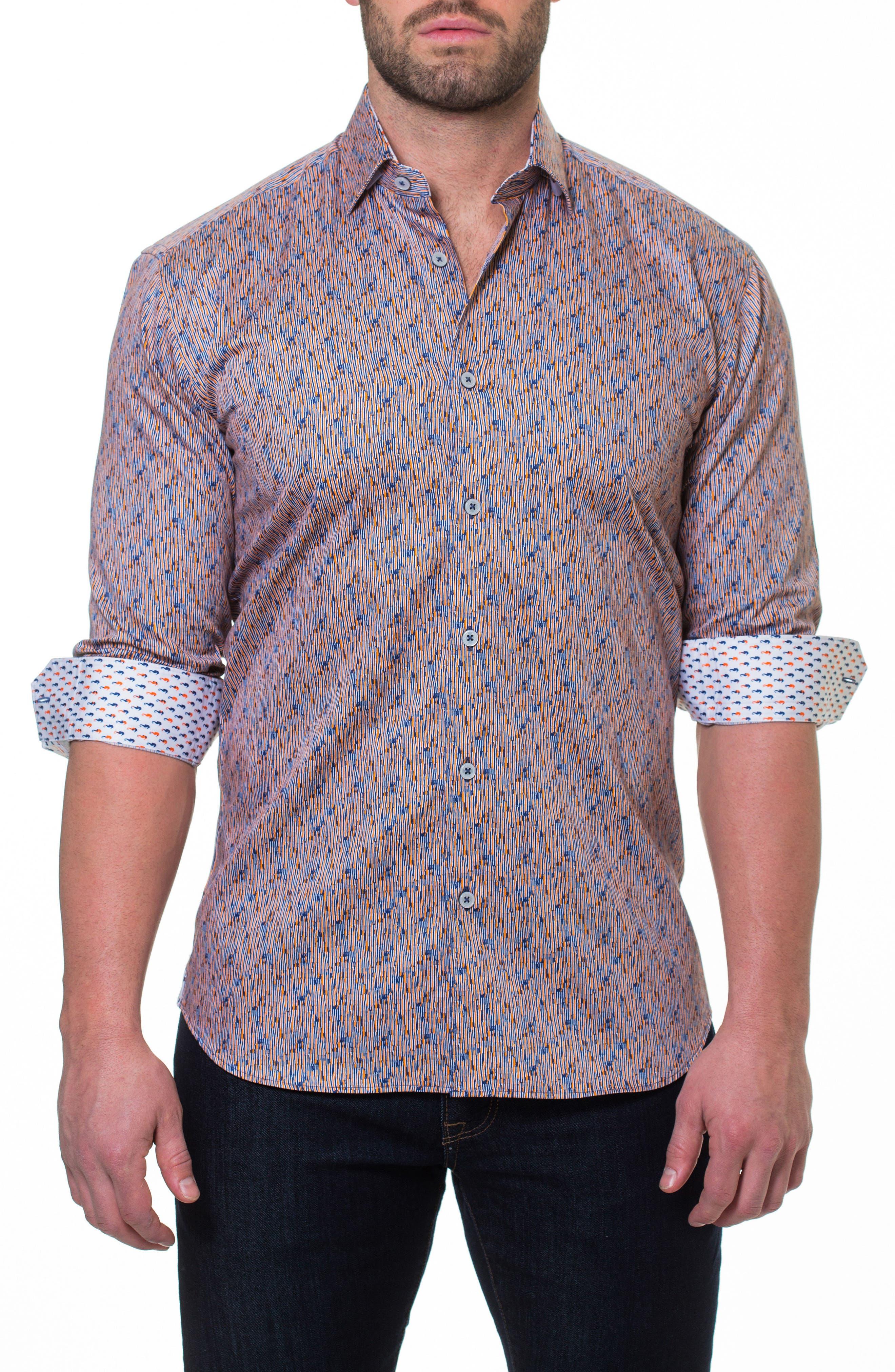 Luxor Strokes Slim Fit Sport Shirt,                             Alternate thumbnail 3, color,                             Orange
