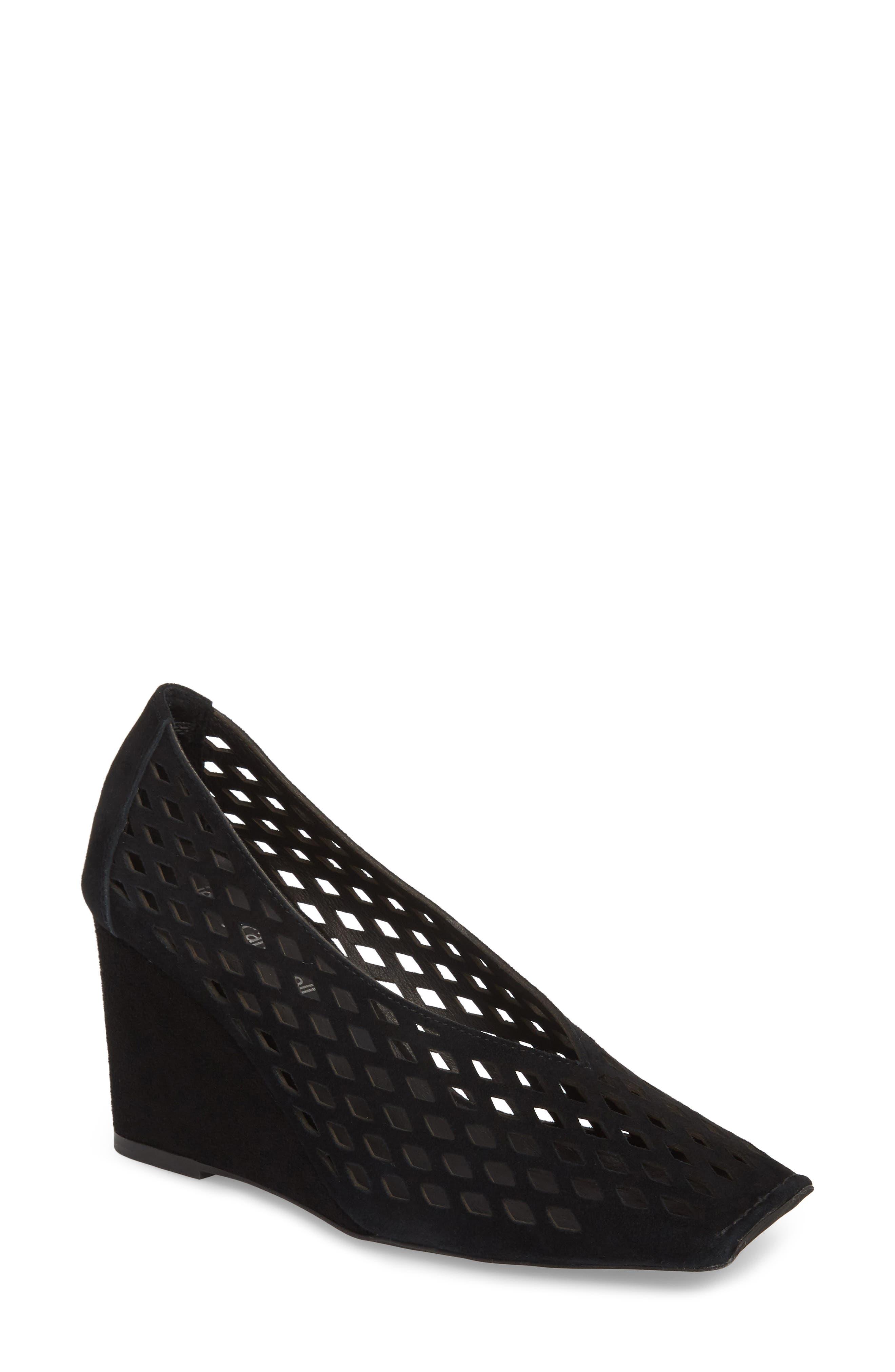 Vanira Perforated Wedge,                         Main,                         color, Black Suede