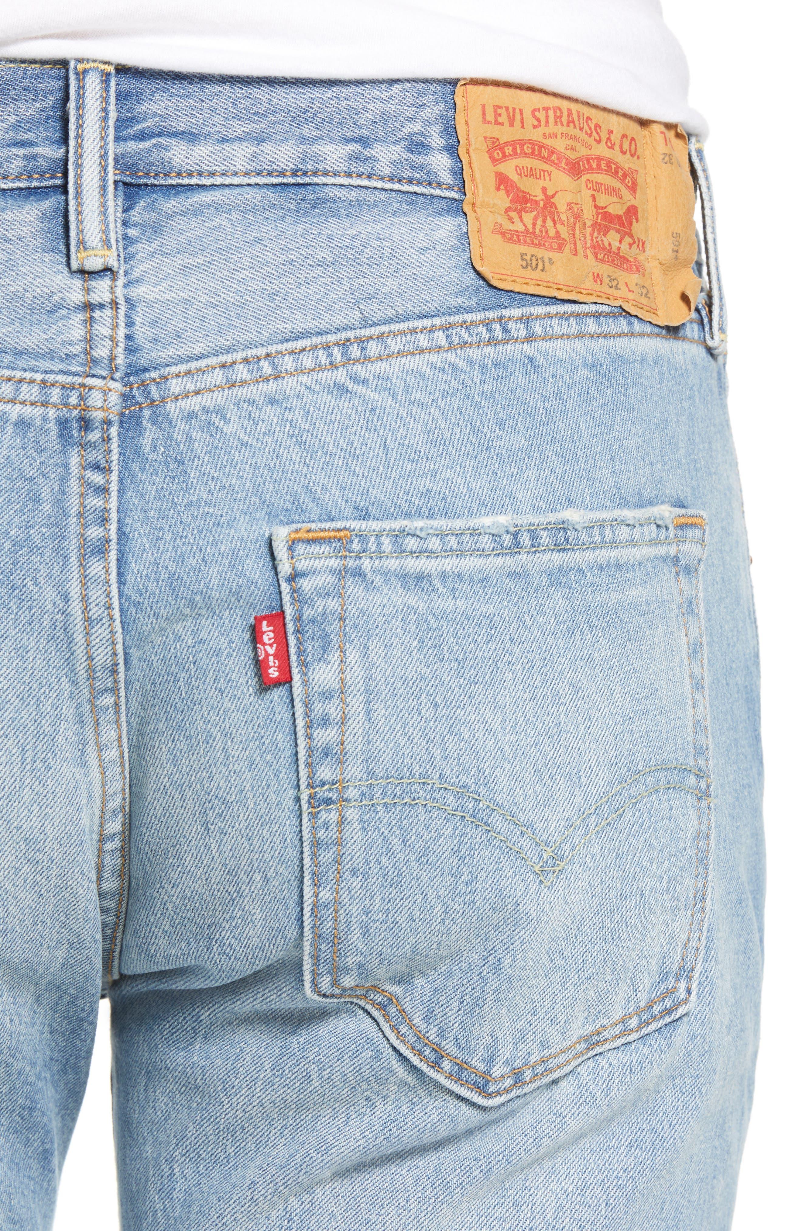 501<sup>®</sup> Original Straight Leg Jeans,                             Alternate thumbnail 4, color,                             Pieced Hawaiian Indigo