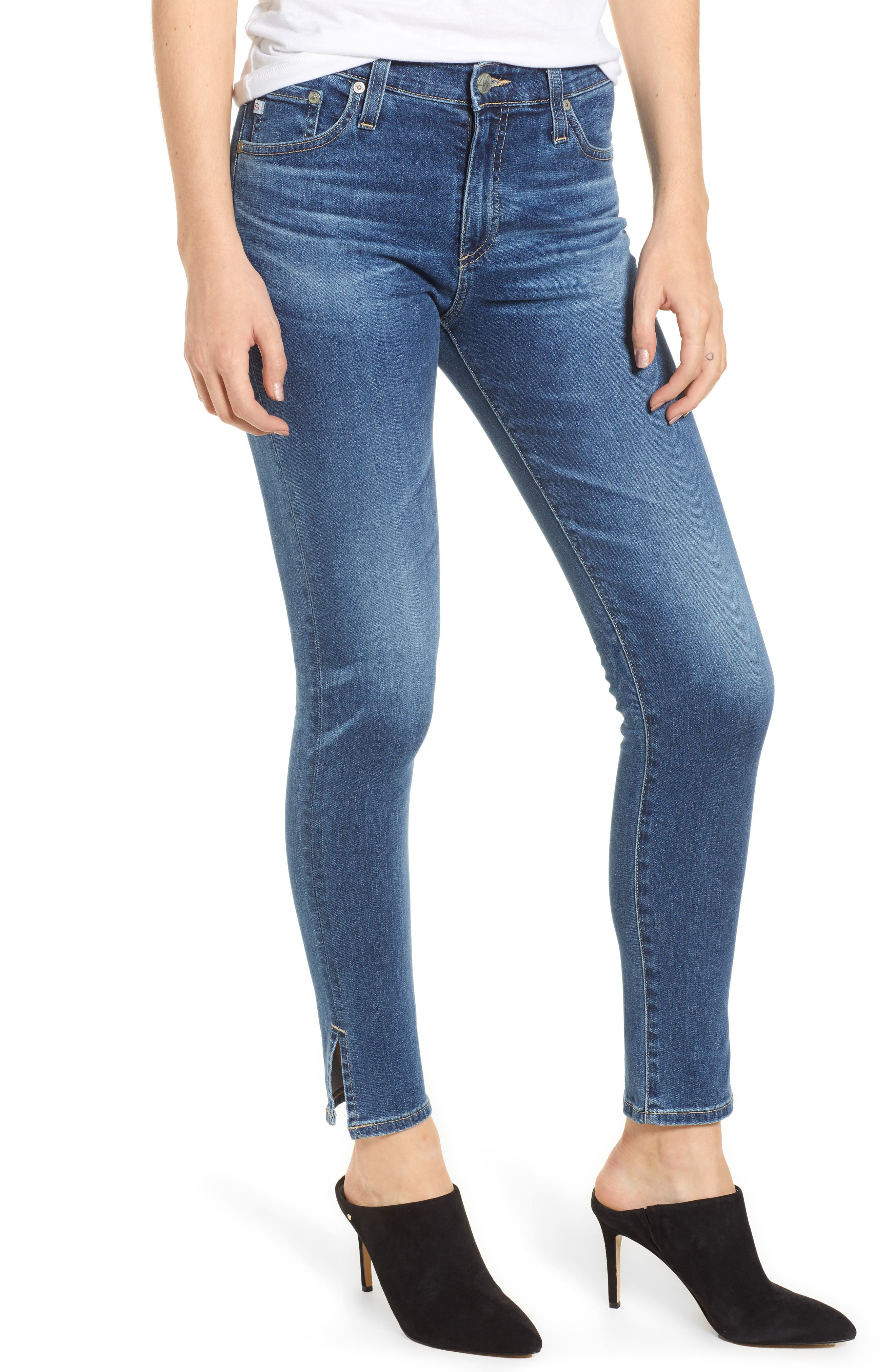 Farrah High Waist Split Hem Skinny Jeans,                             Main thumbnail 1, color,                             10 Years Cambria