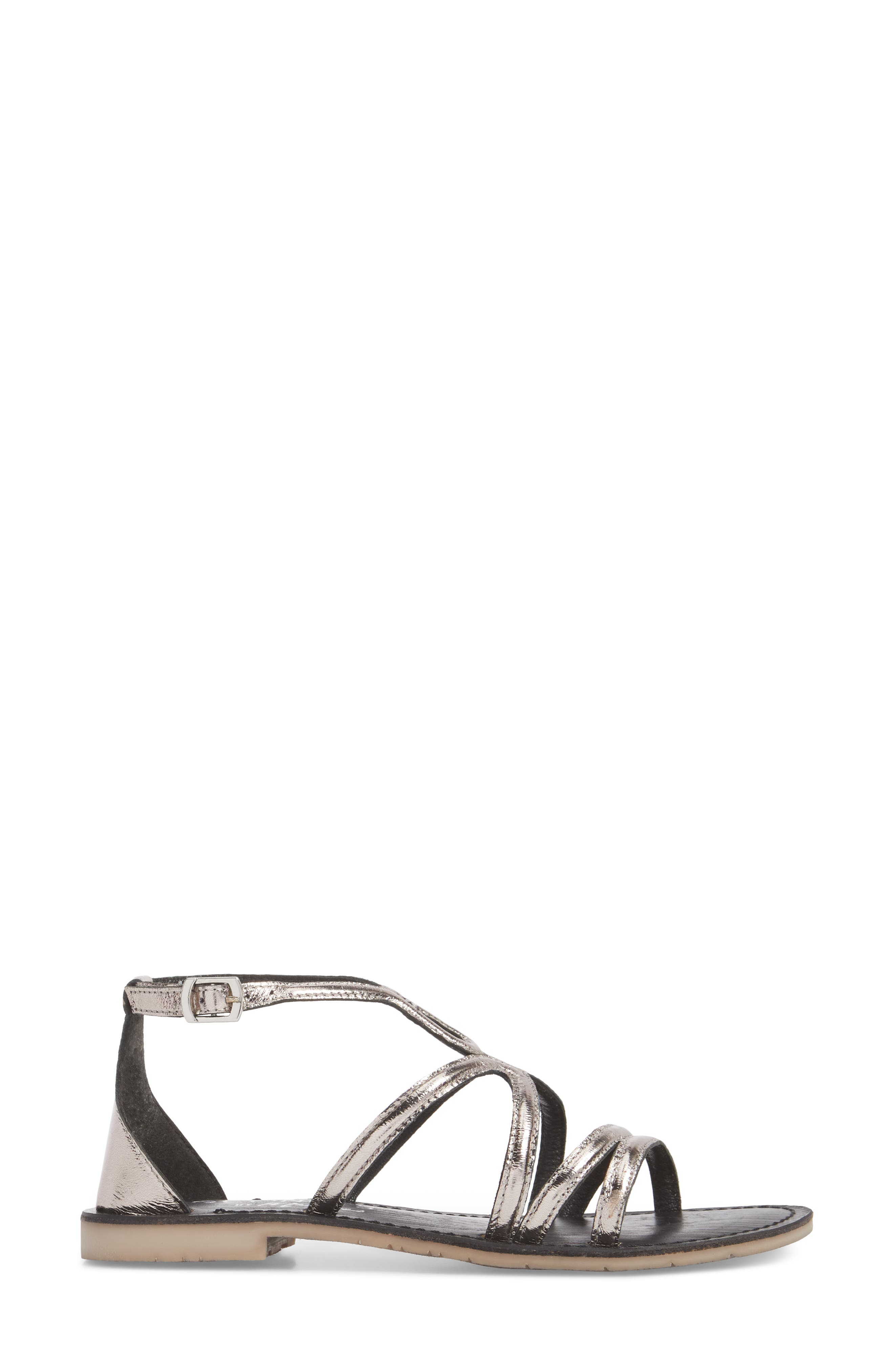 Palm Beach Metallic Sandal,                             Alternate thumbnail 3, color,                             Pewter Leather