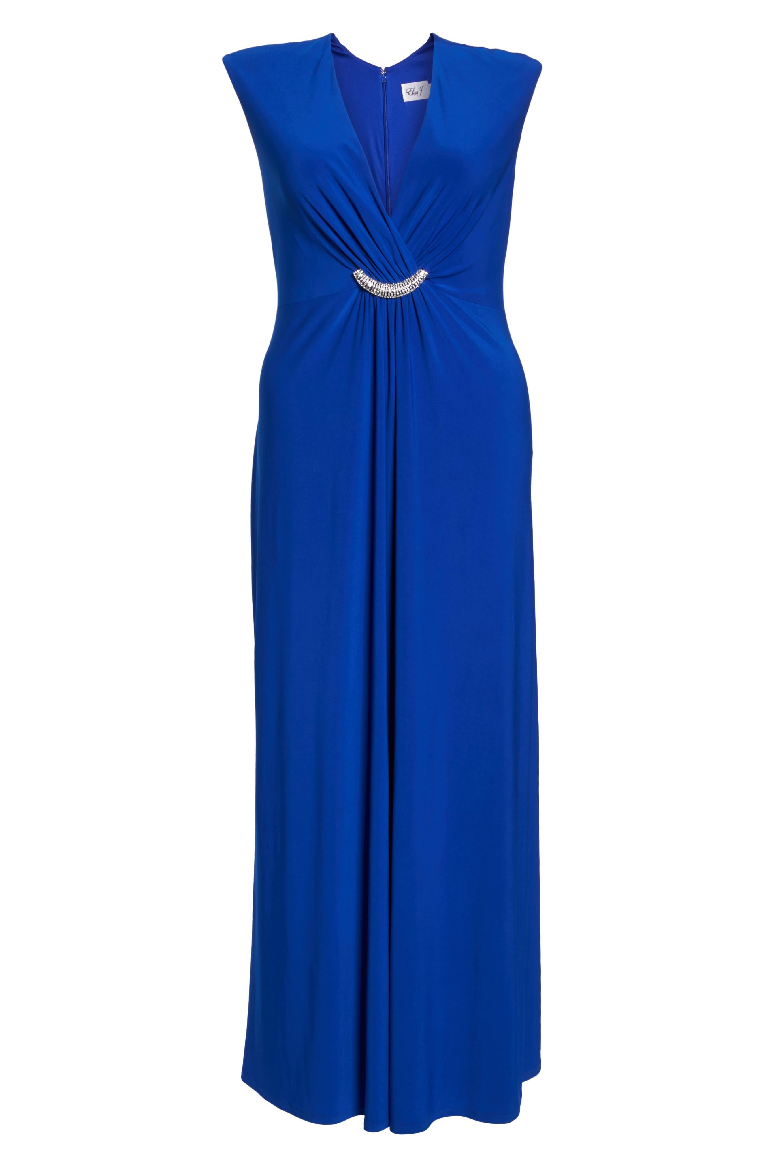 Embellished Surplice Dress,                             Alternate thumbnail 6, color,                             Cobalt
