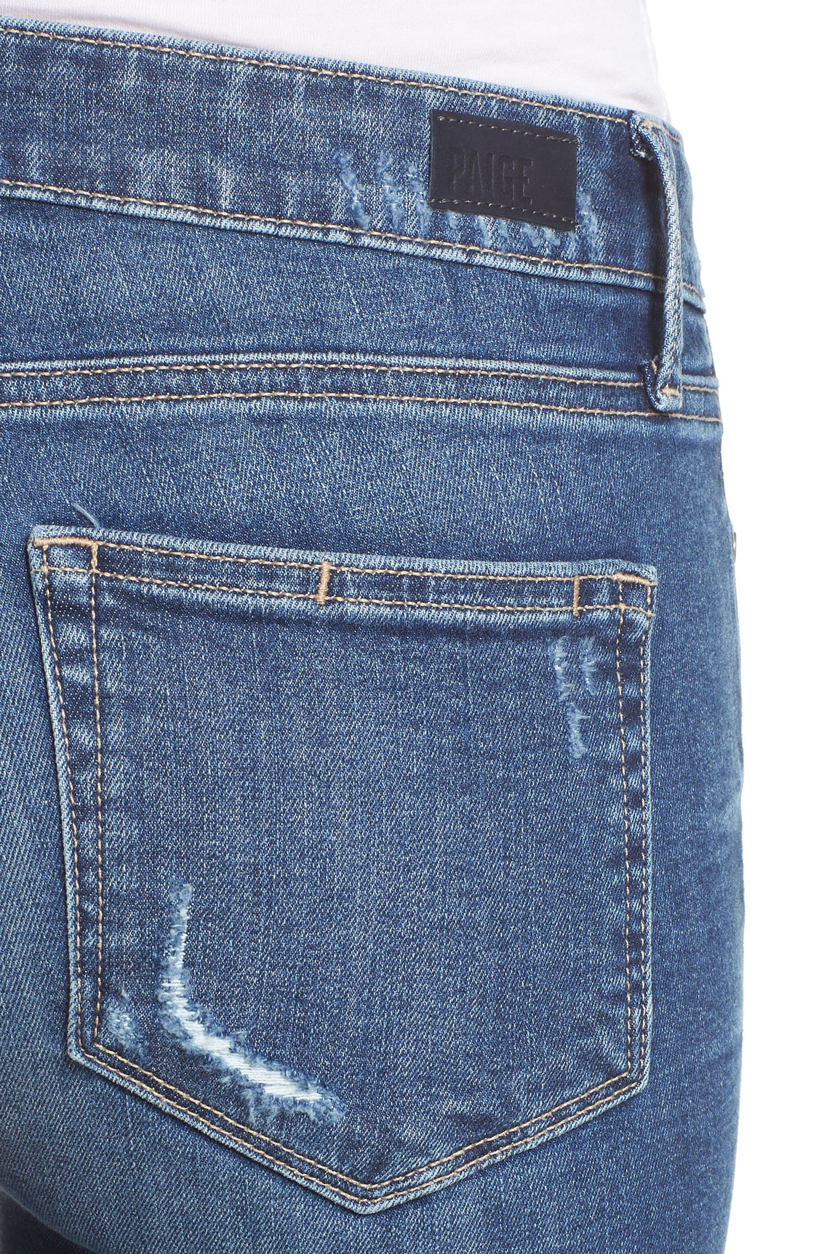 Transcend Vintage - Verdugo Ankle Skinny Jeans,                             Alternate thumbnail 4, color,                             Pico Destructed