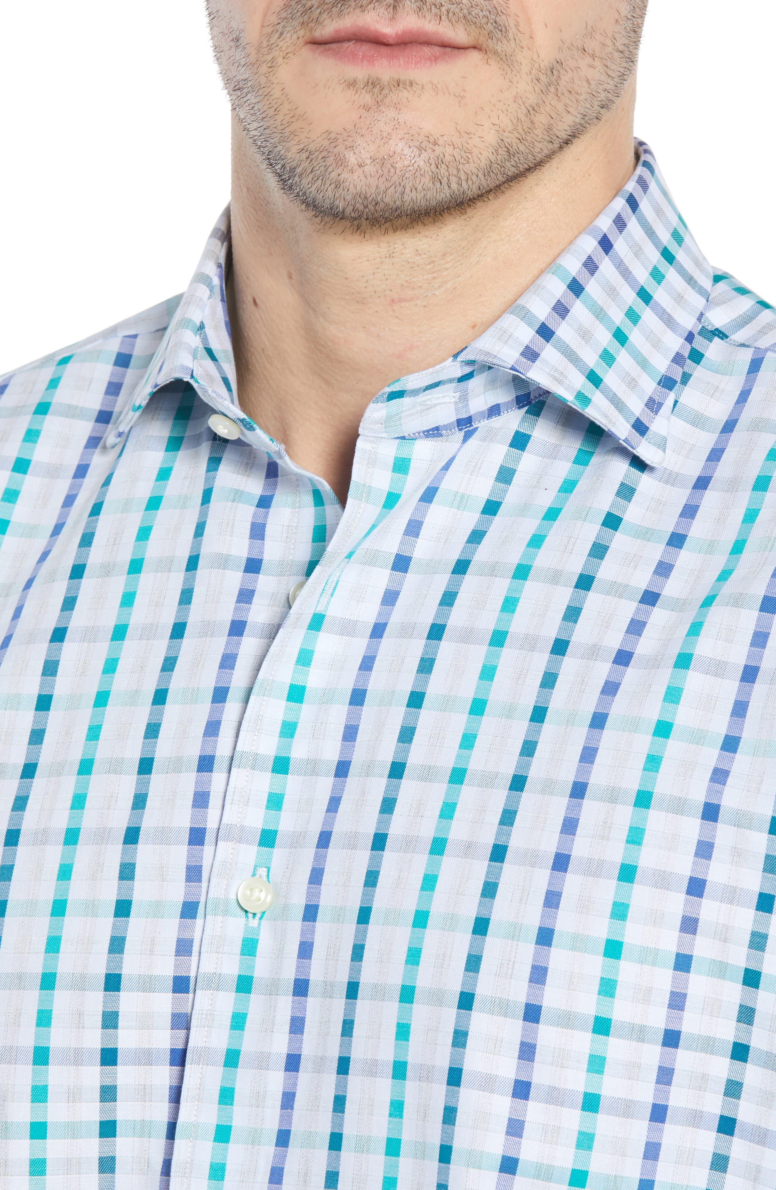 Regular Fit Check Sport Shirt,                             Alternate thumbnail 4, color,                             Green