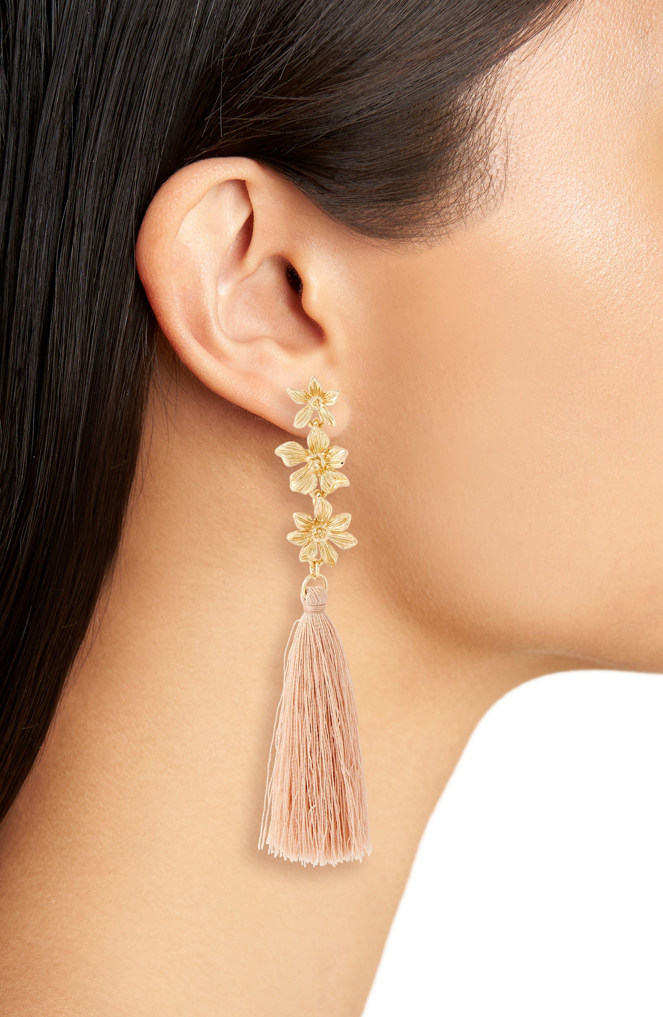 3-Flower Tassel Drop Earrings,                             Alternate thumbnail 2, color,                             Natural