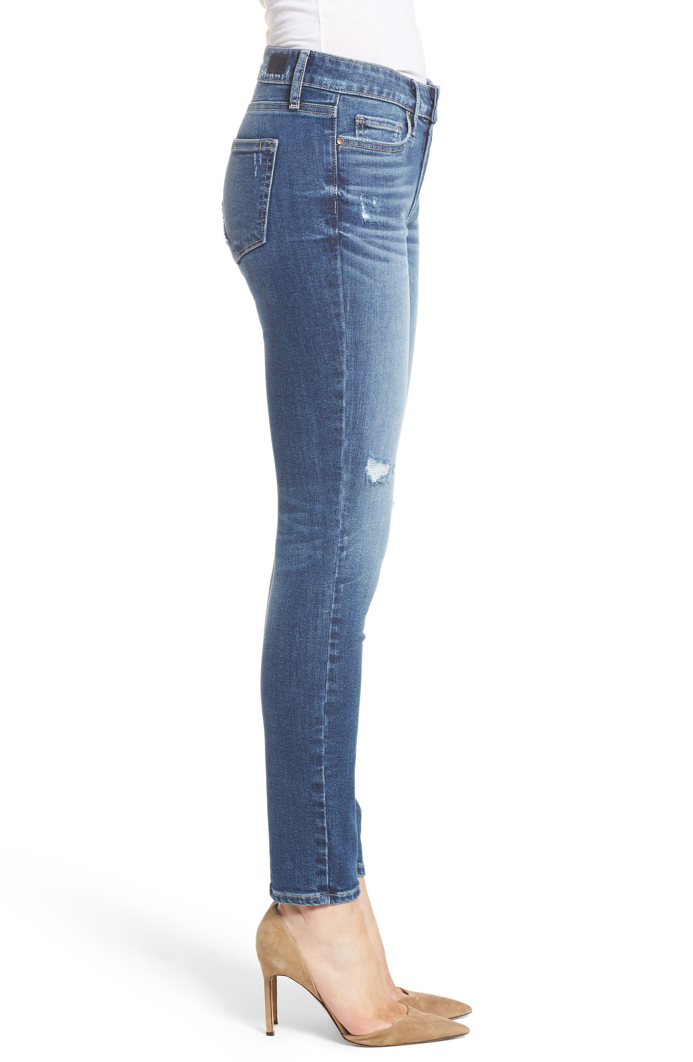 Transcend Vintage - Verdugo Ankle Skinny Jeans,                             Alternate thumbnail 3, color,                             Pico Destructed