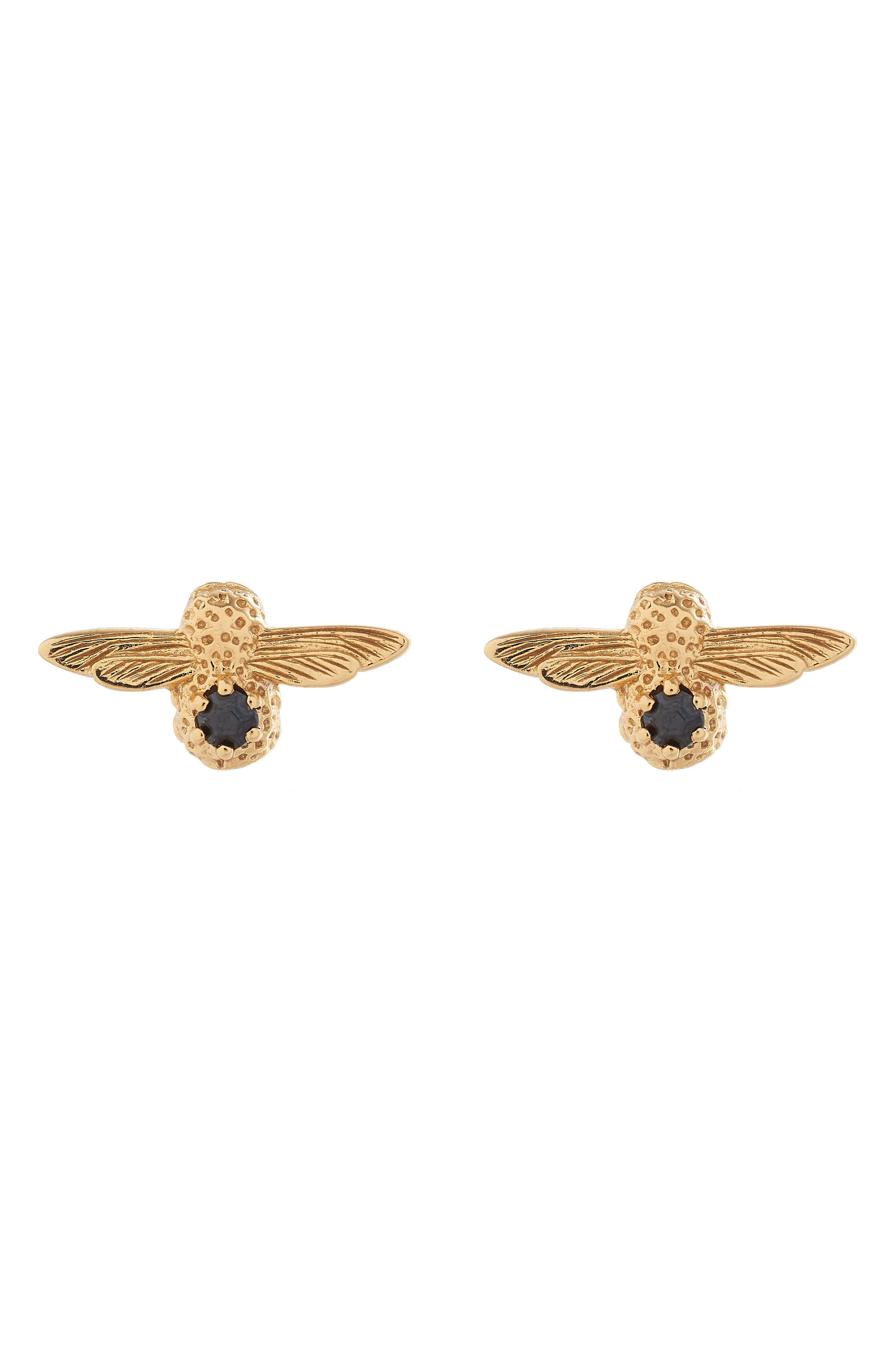 3D Bejeweled Bee Stud Earrings,                             Main thumbnail 1, color,                             Two Tone- Gold / Black Onyx