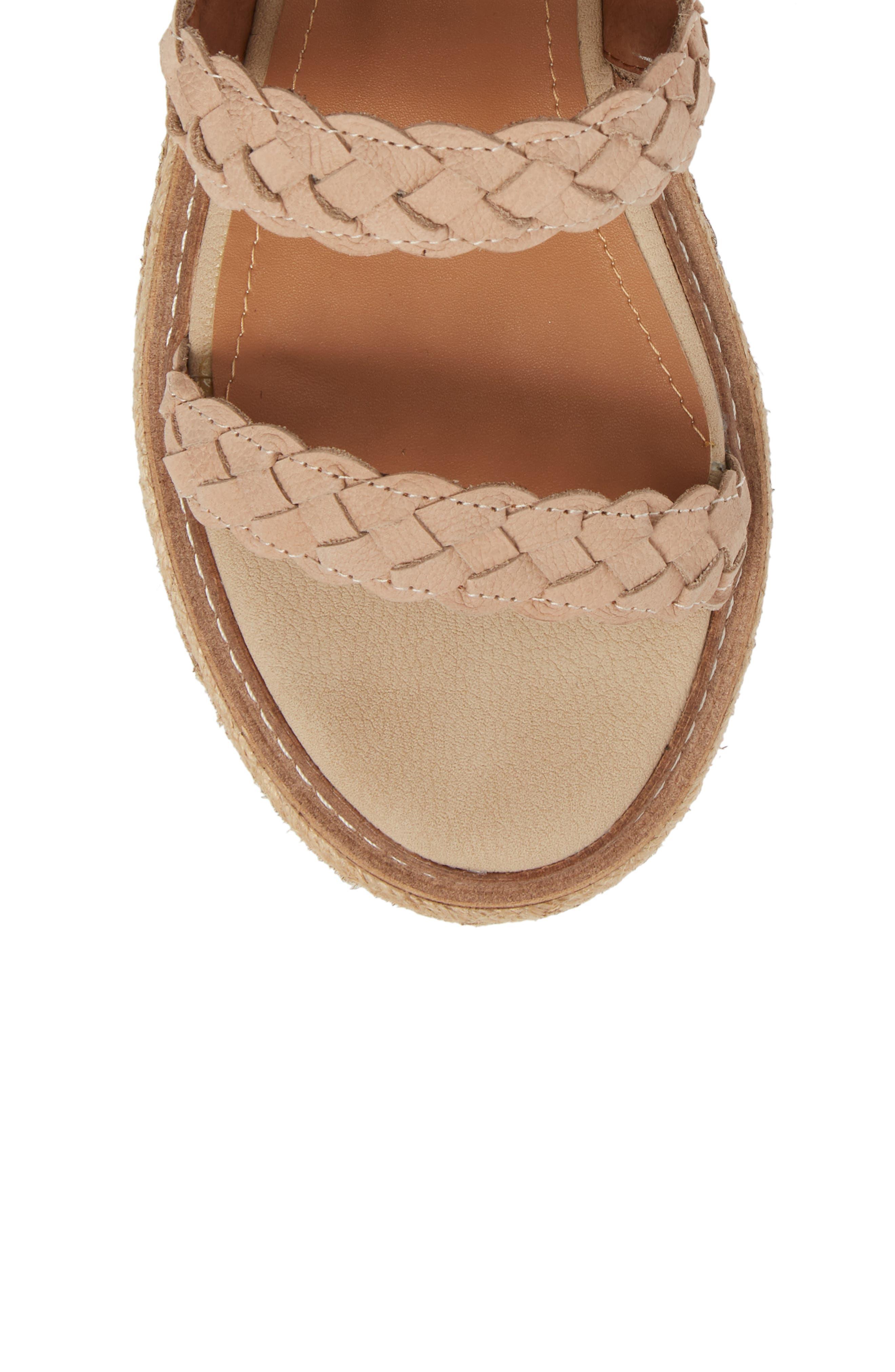 Nieve Braided Platform Sandal,                             Alternate thumbnail 4, color,                             Natural Leather