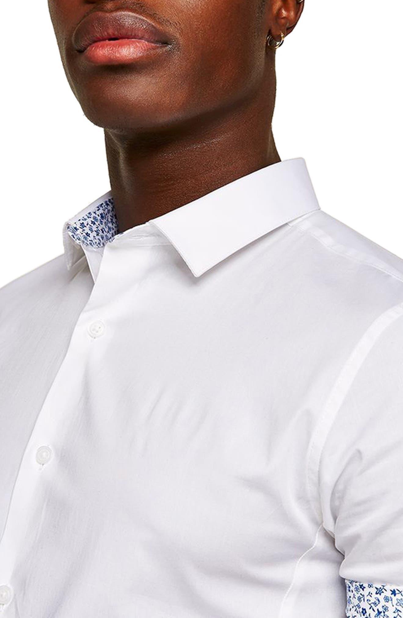 Muscle Fit Floral Trim Shirt,                             Alternate thumbnail 2, color,                             White Multi