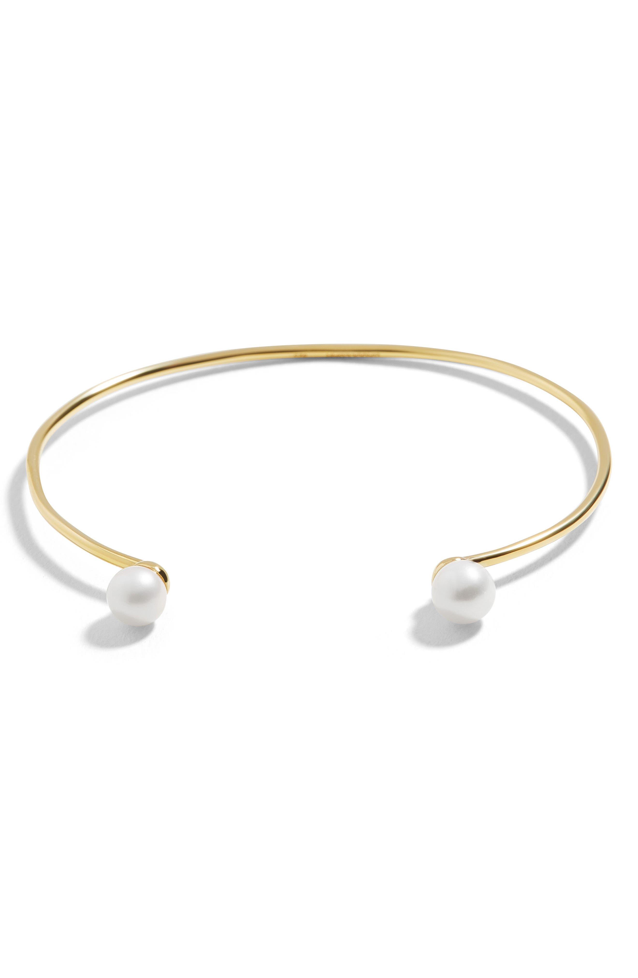 Perla Everyday Fine Cuff Bracelet,                             Main thumbnail 1, color,                             Pearl