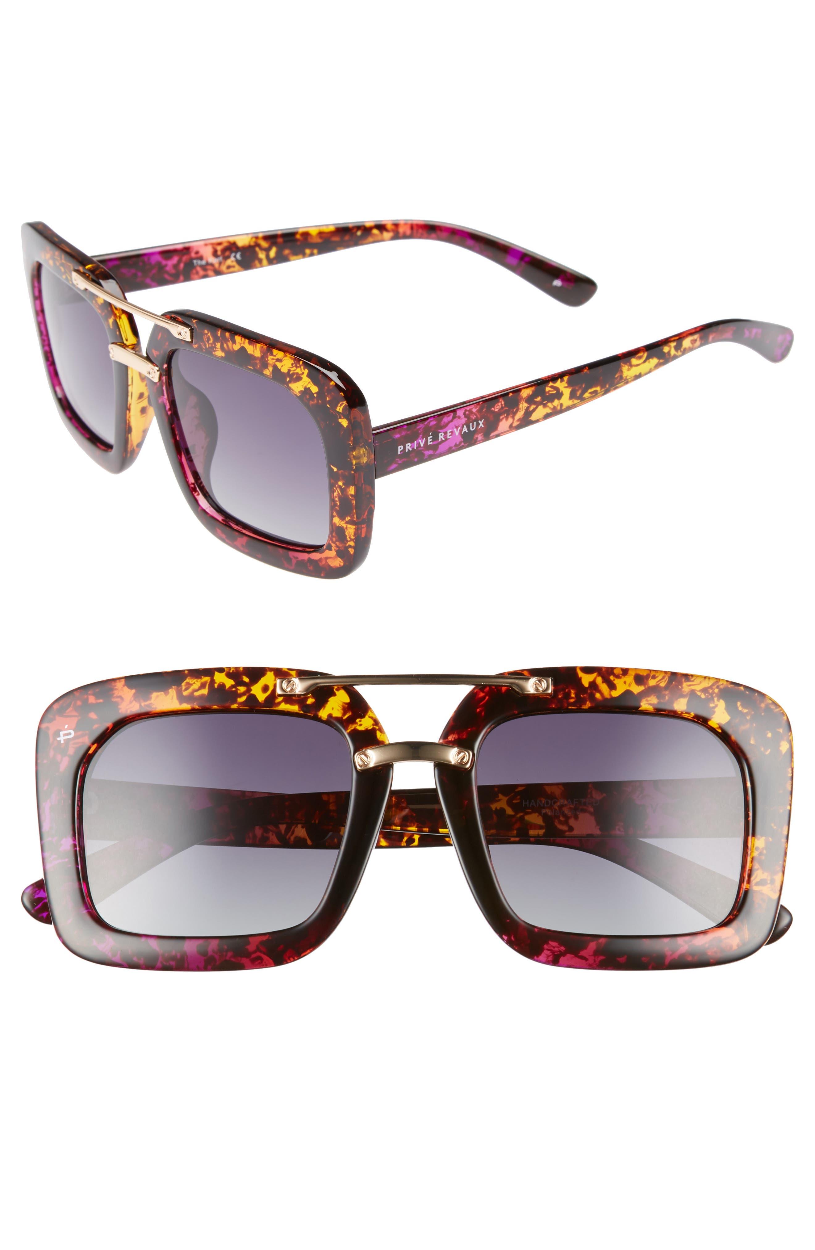 Privé Revaux The Karl 50mm Square Aviator Sunglasses
