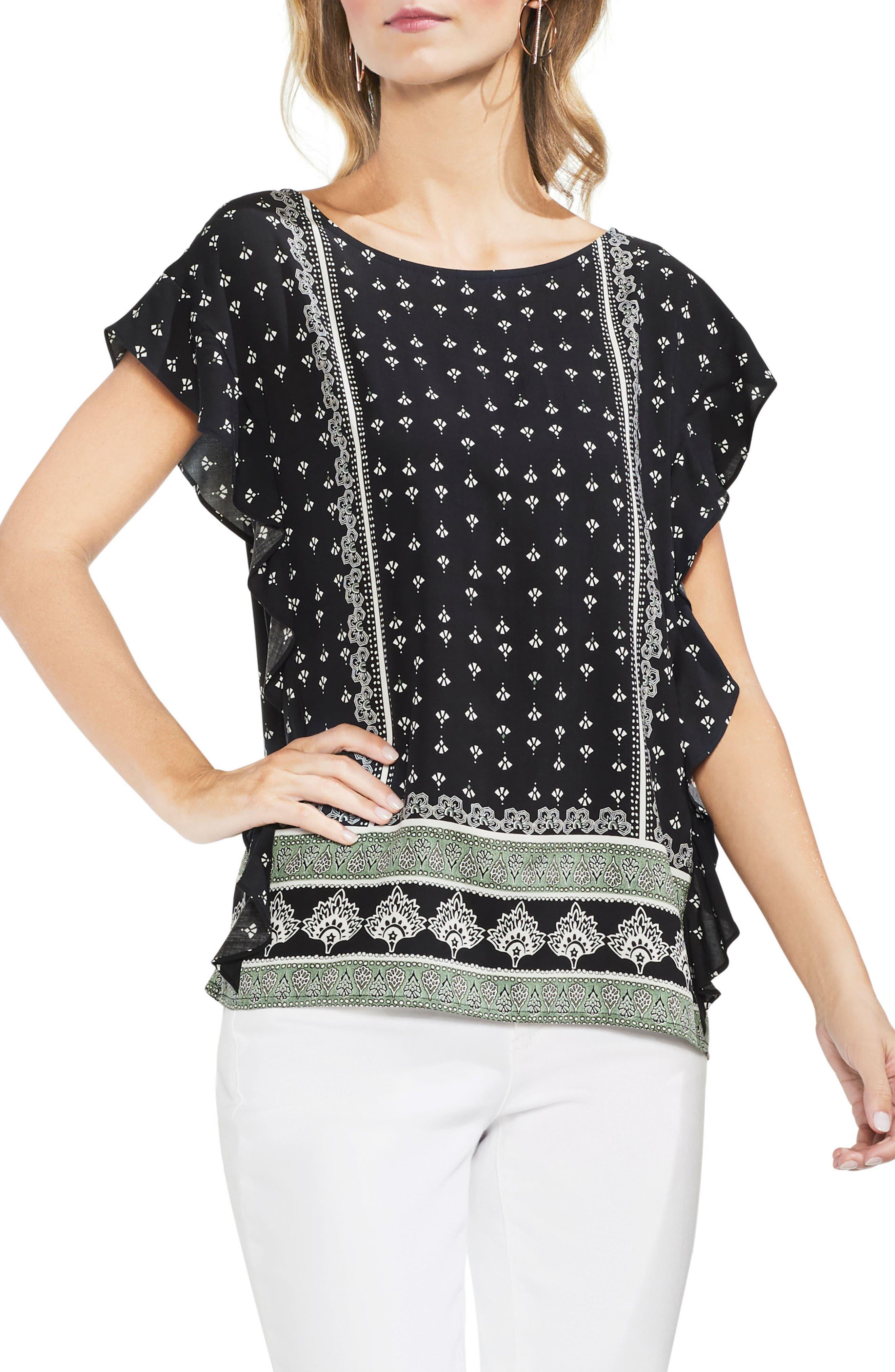 Ruffle Sleeve Fan Print Blouse,                         Main,                         color, Rich Black