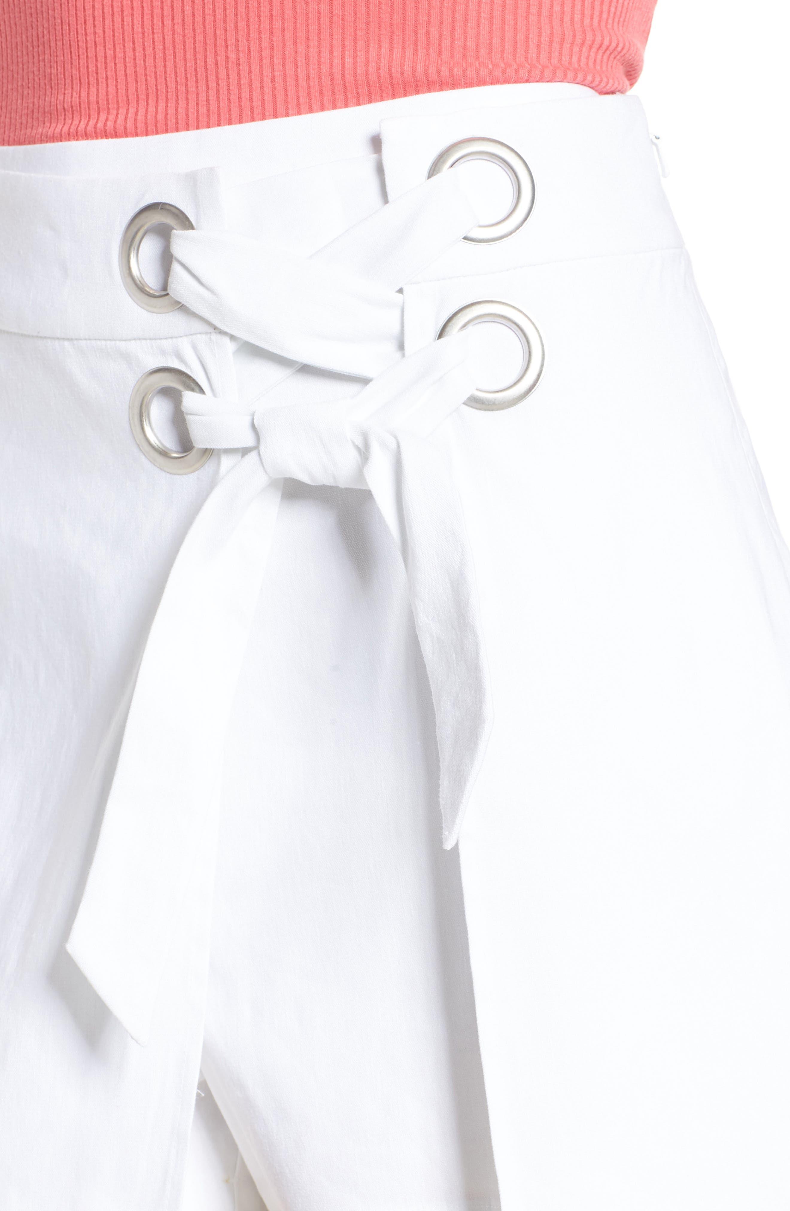 Lace-Up Linen Blend Skort,                             Alternate thumbnail 4, color,                             White