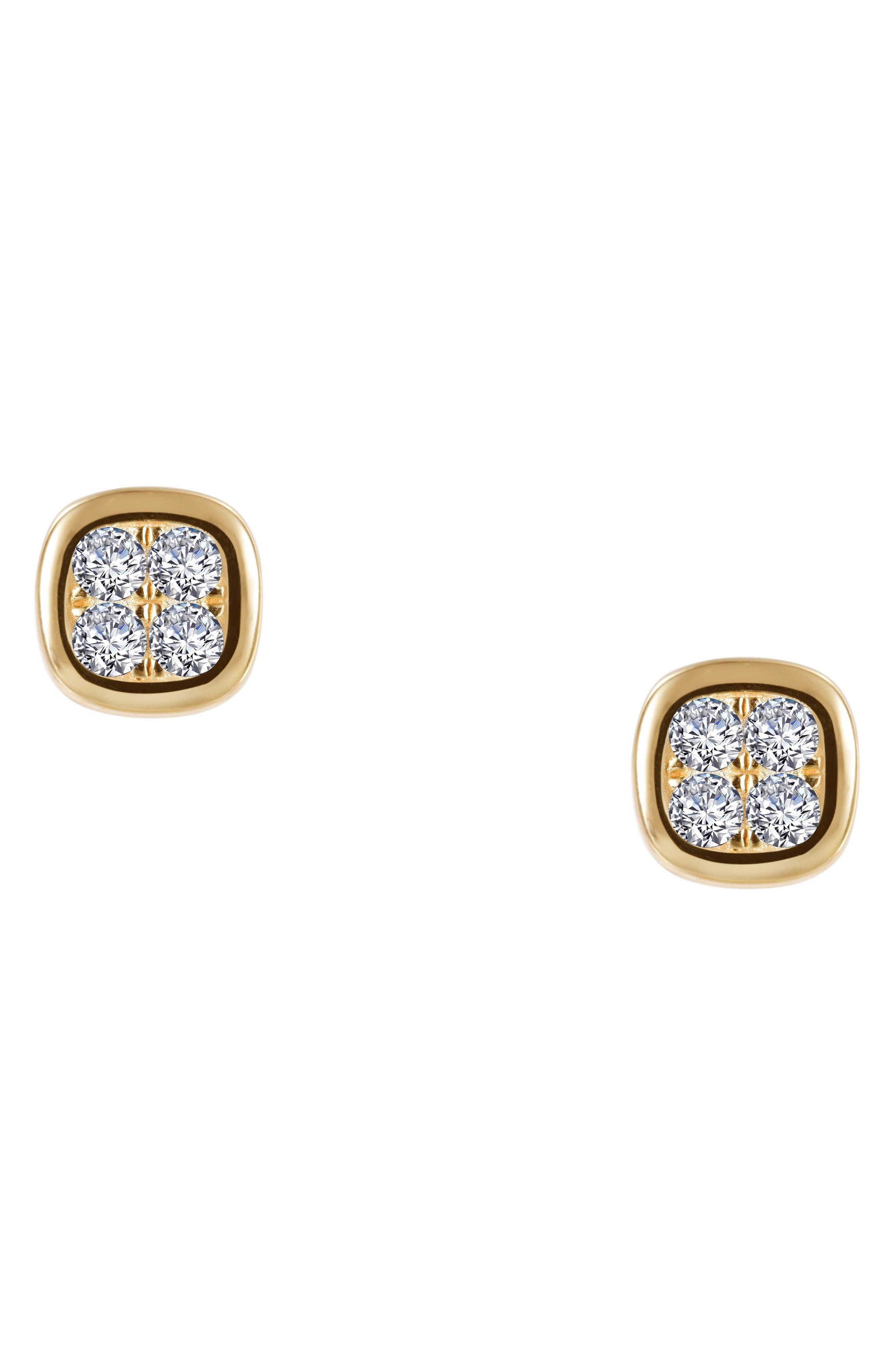 Foursquare Simulated Diamond Earrings,                             Alternate thumbnail 3, color,                             Silver/ Gold/ Clear