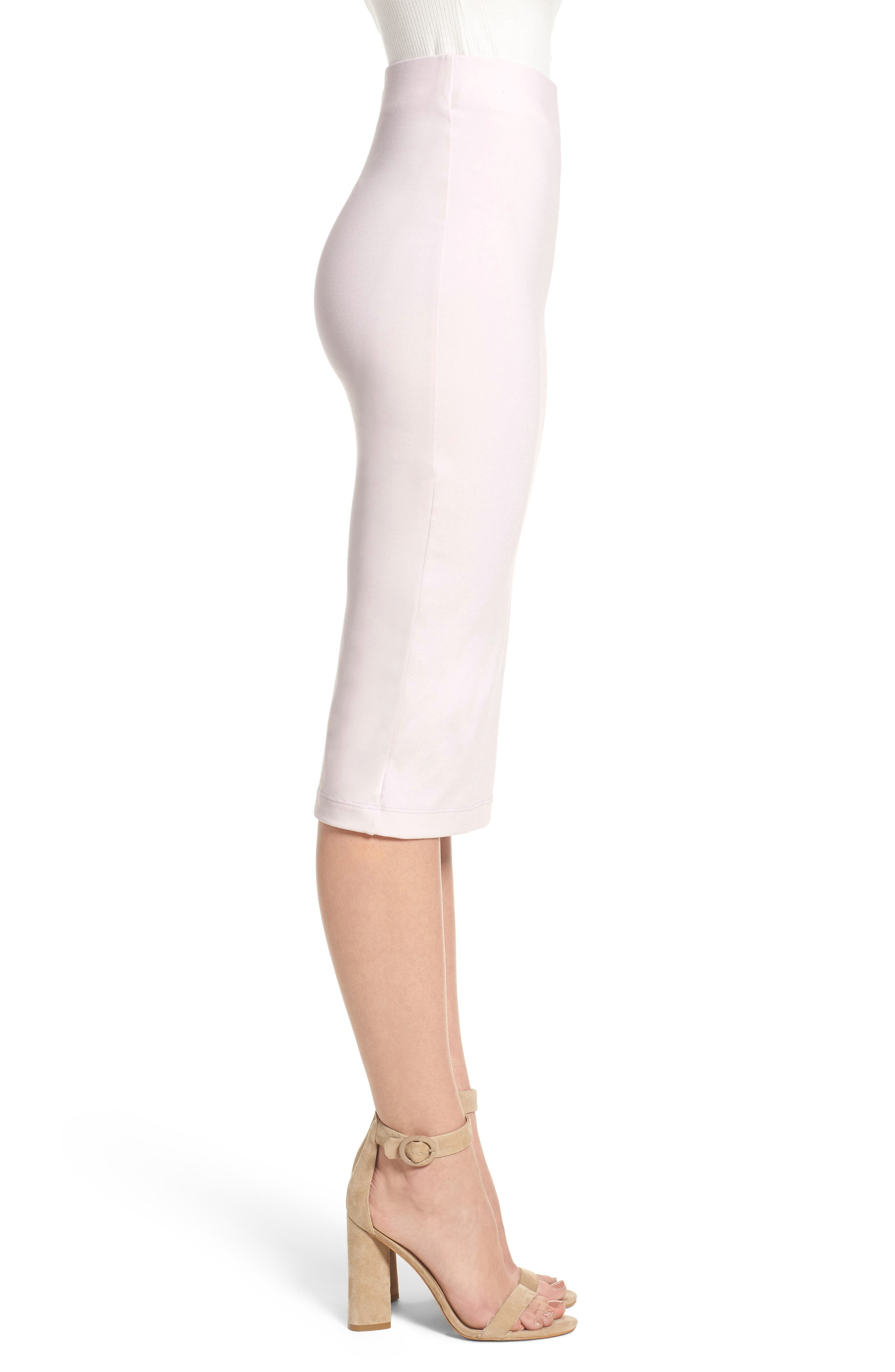 Tube High Rise Pencil Skirt,                             Alternate thumbnail 3, color,                             Soft Pink