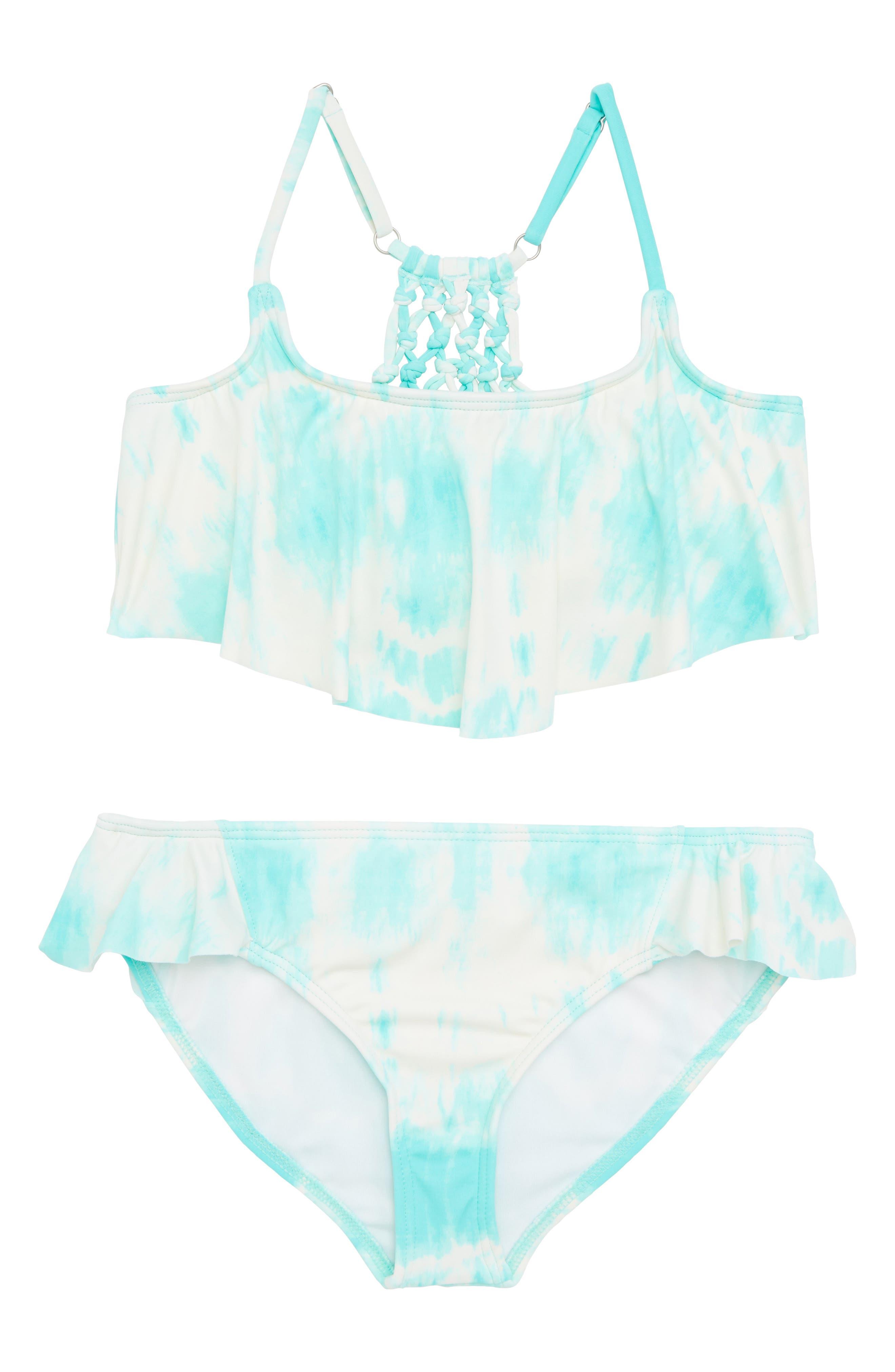 Peace 4 U Flutter Two-Piece Swimsuit,                         Main,                         color, Beach Glass