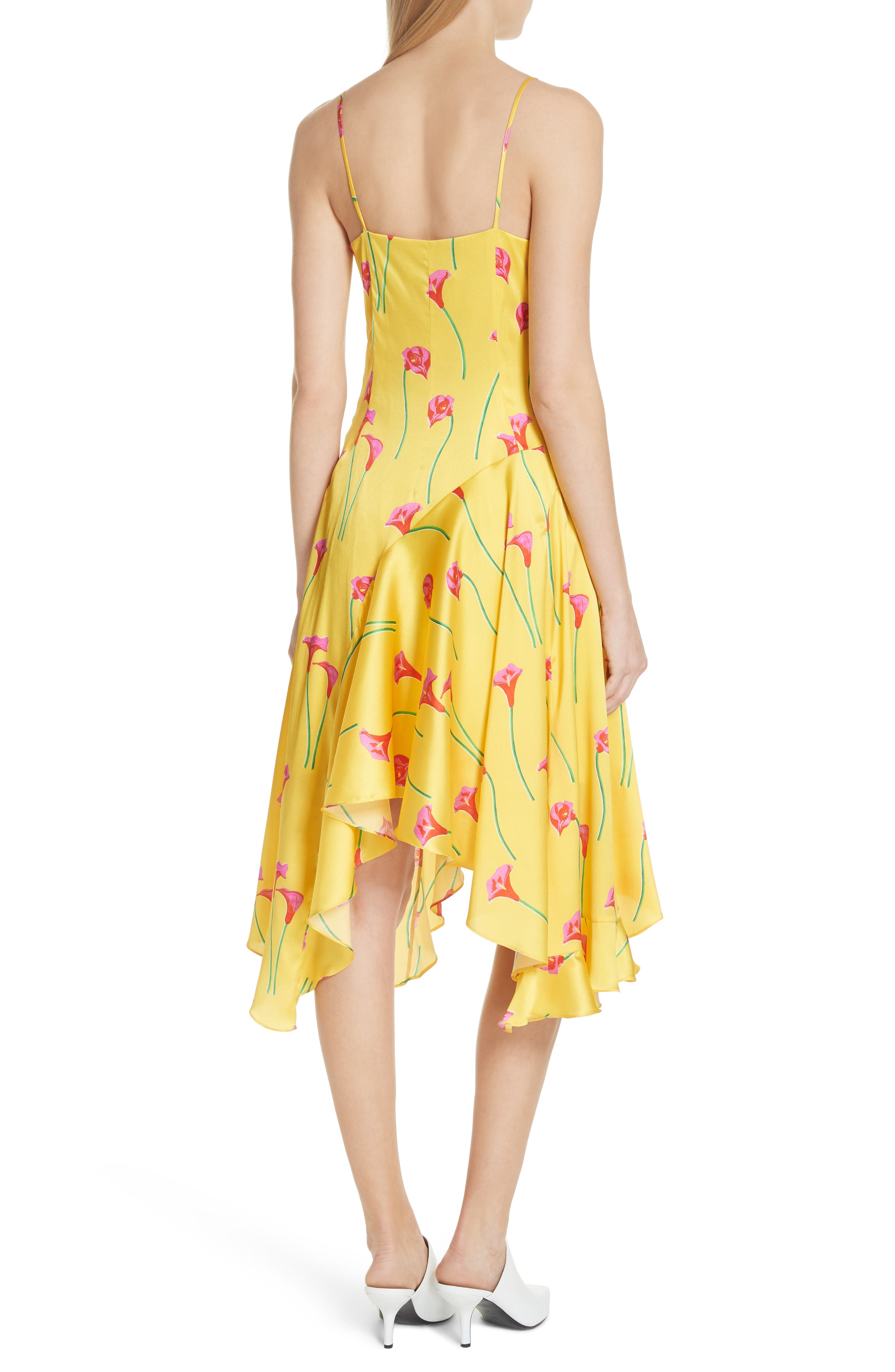 Marie Stretch Silk Slipdress,                             Alternate thumbnail 2, color,                             Yellow