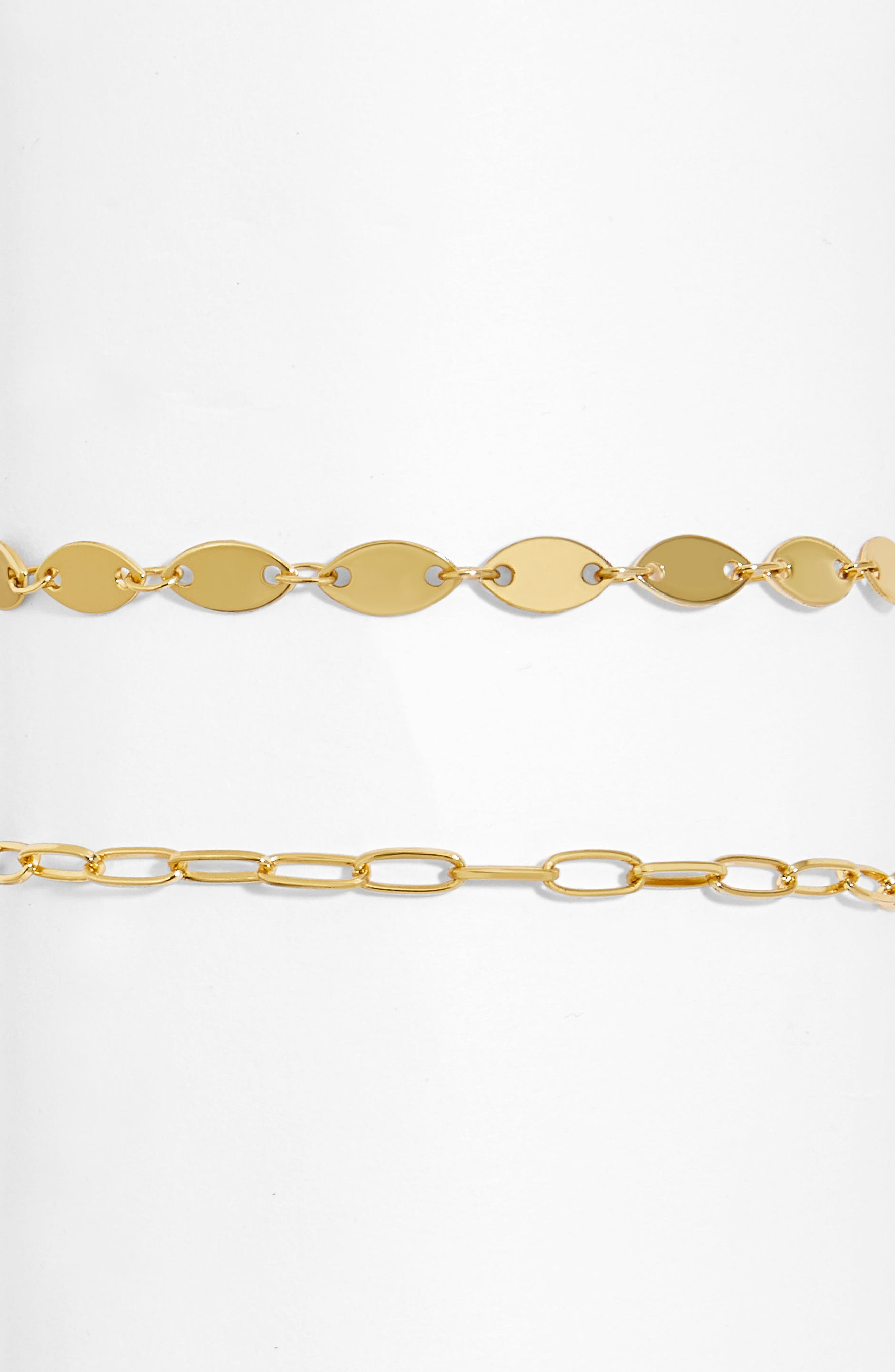 Rectangle and Coin Set of 2 Chain Anklets,                         Main,                         color, Gold