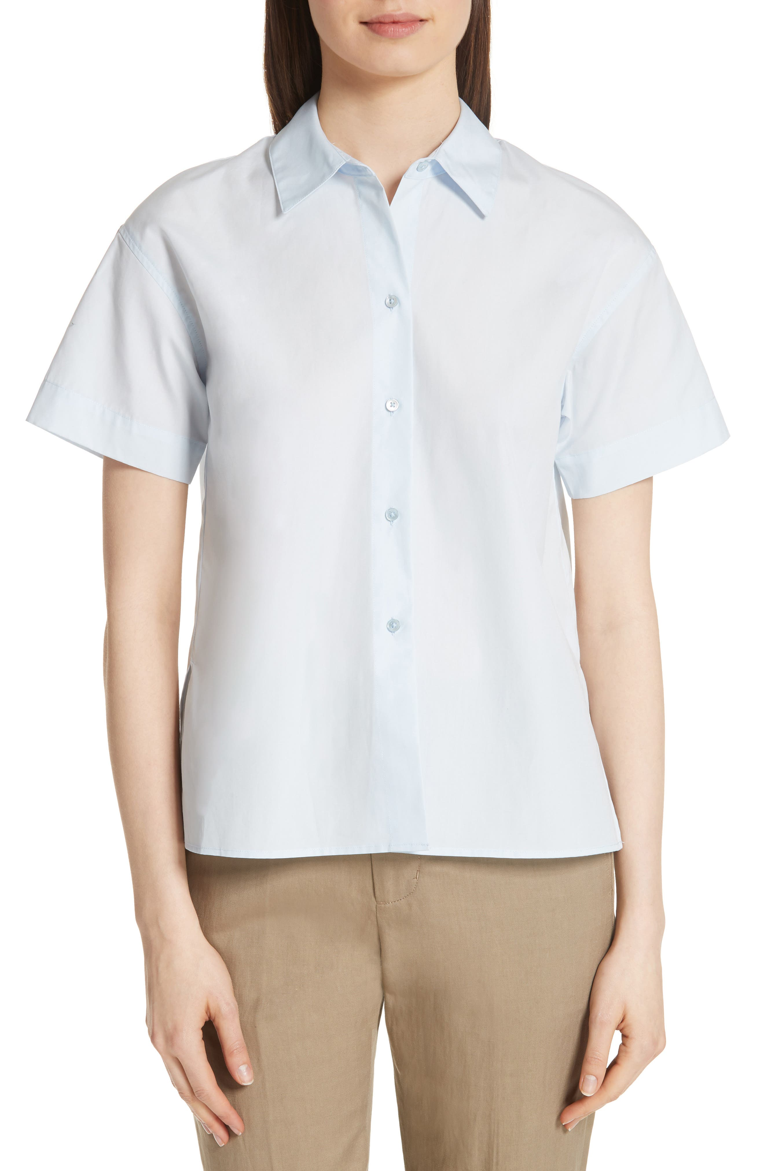 Short Sleeve Cotton Shirt,                             Main thumbnail 1, color,                             Powder Blue