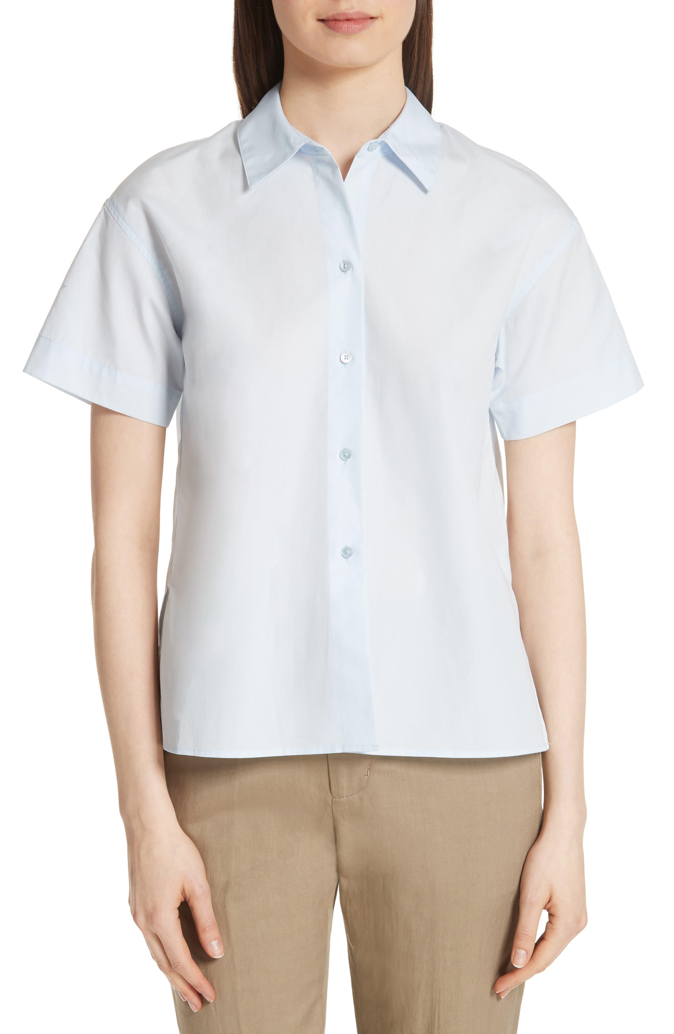 Short Sleeve Cotton Shirt,                         Main,                         color, Powder Blue