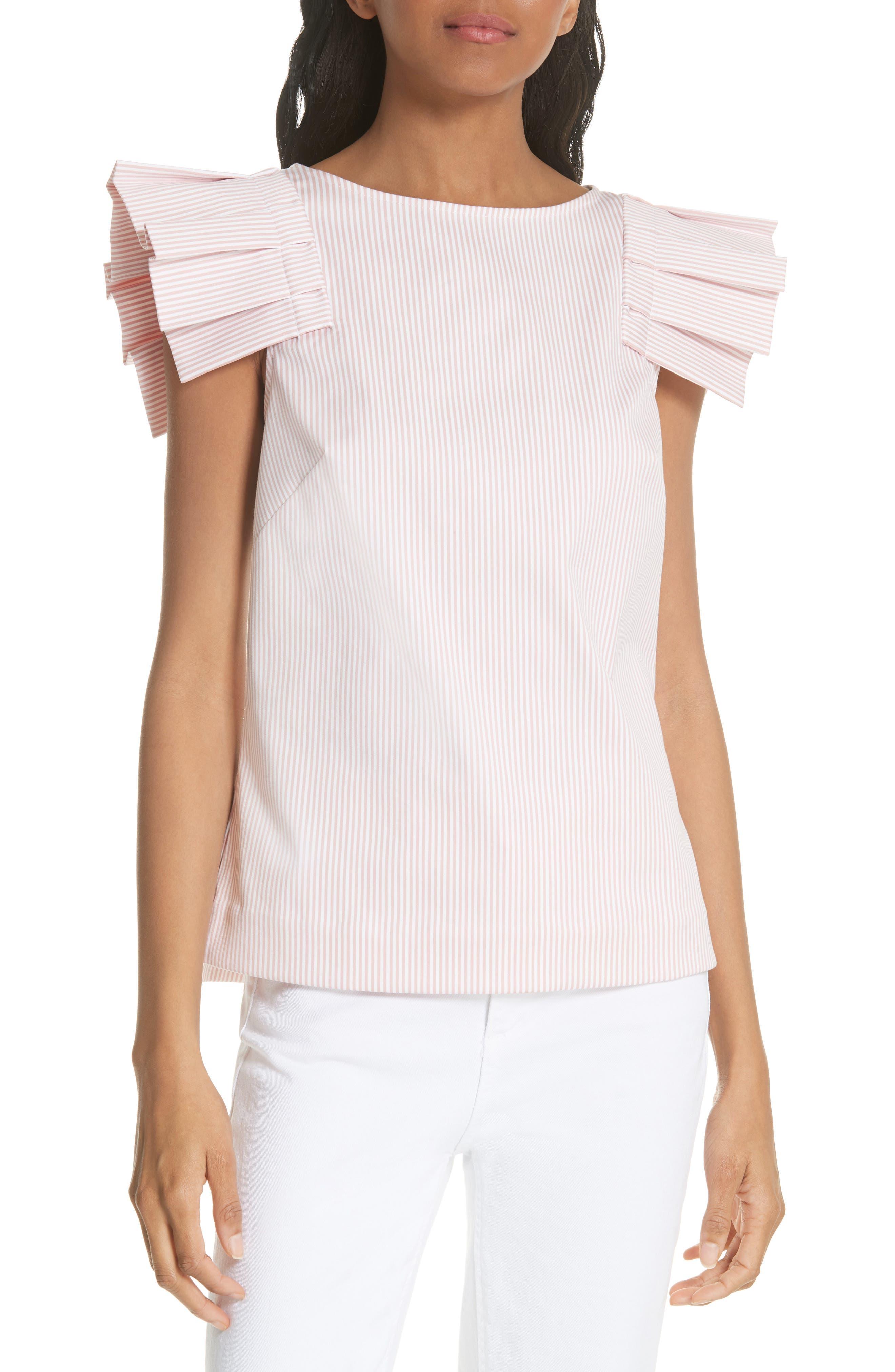 Frill Shoulder Top,                         Main,                         color, Dusky Pink