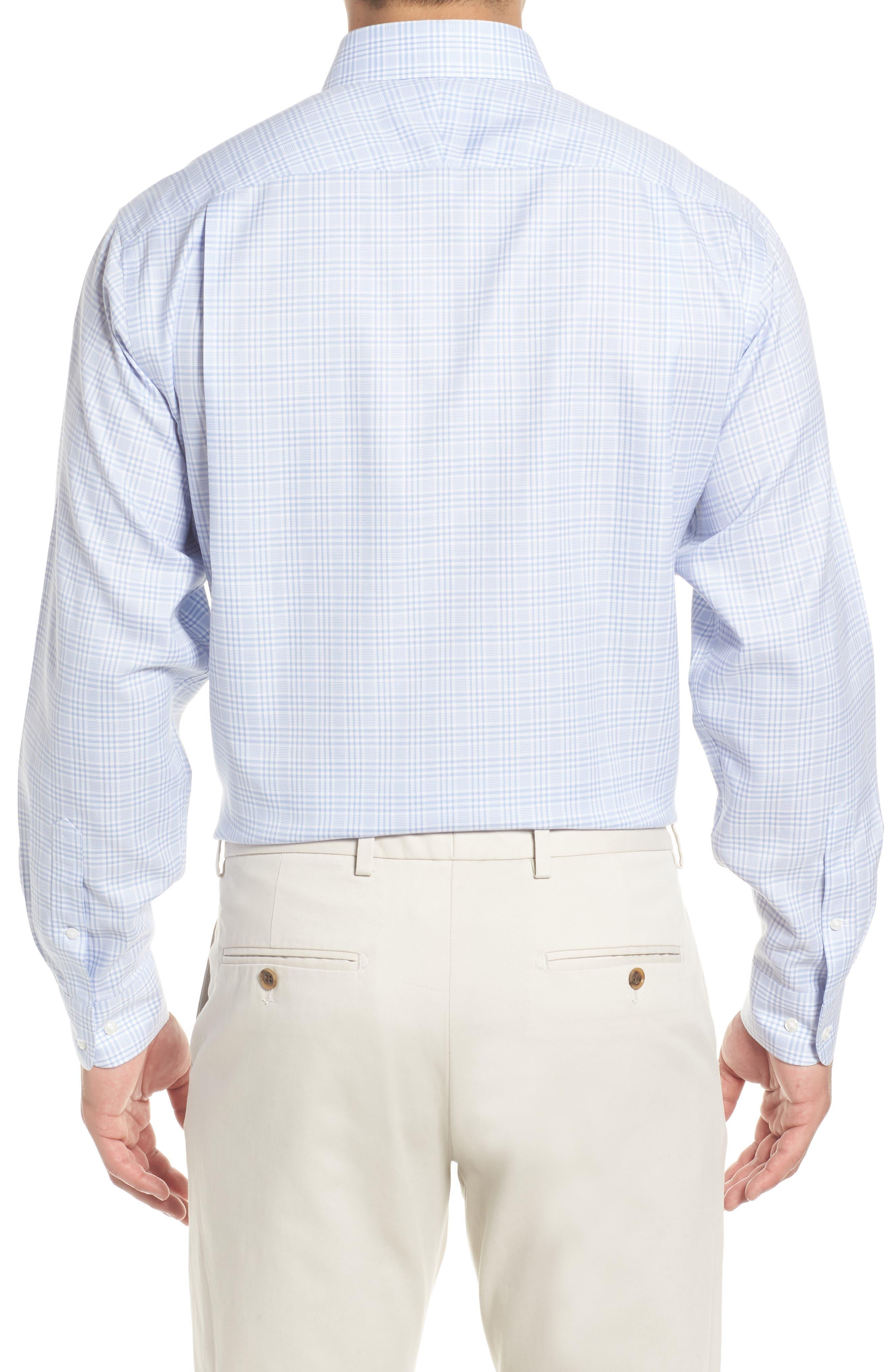 Smartcare<sup>™</sup> Classic Fit Plaid Dress Shirt,                             Alternate thumbnail 3, color,                             Blue Brunnera