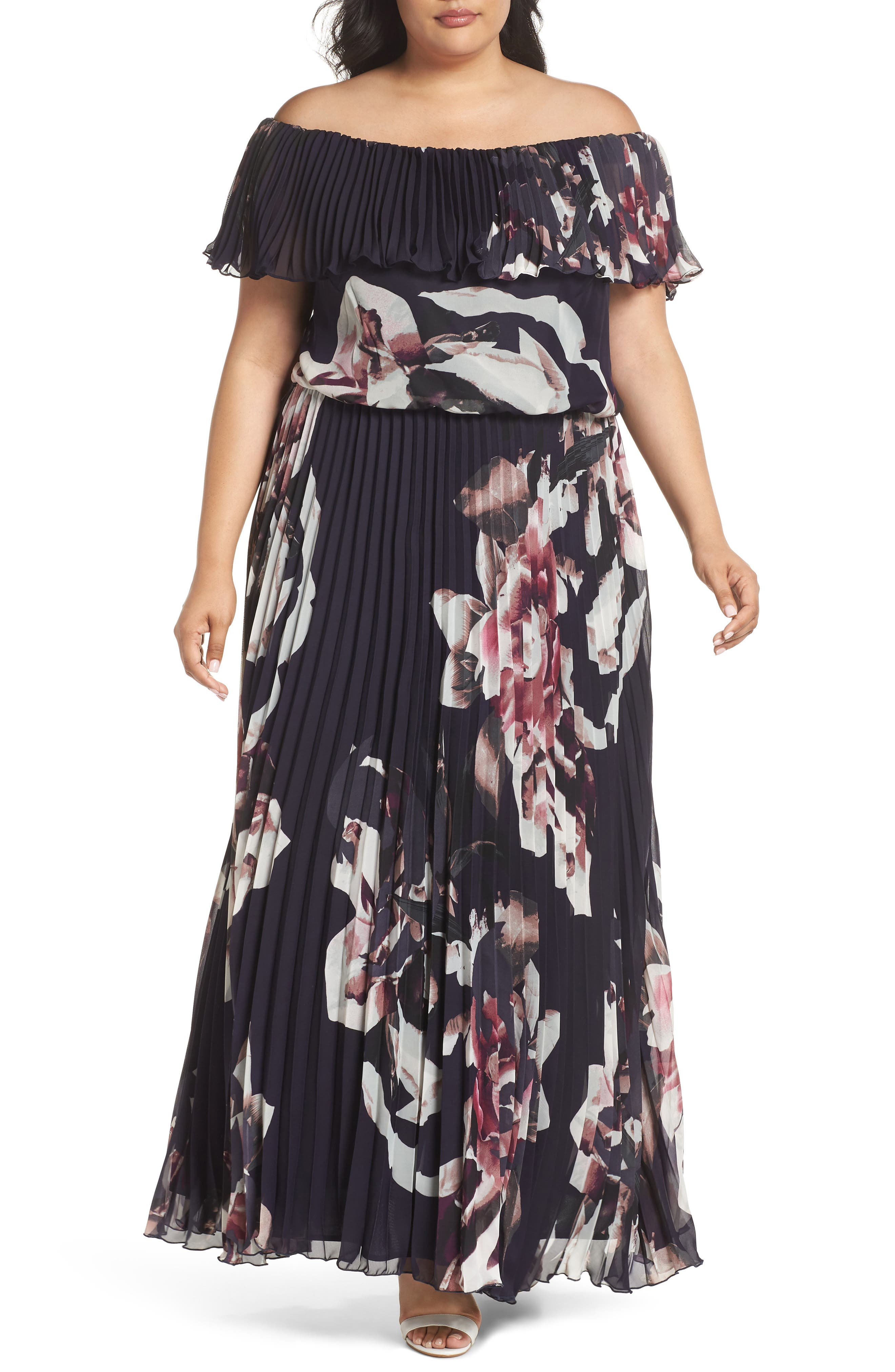 Floral Pleat Off the Shoulder Ruffle Gown,                             Main thumbnail 1, color,                             Navy/ Pink