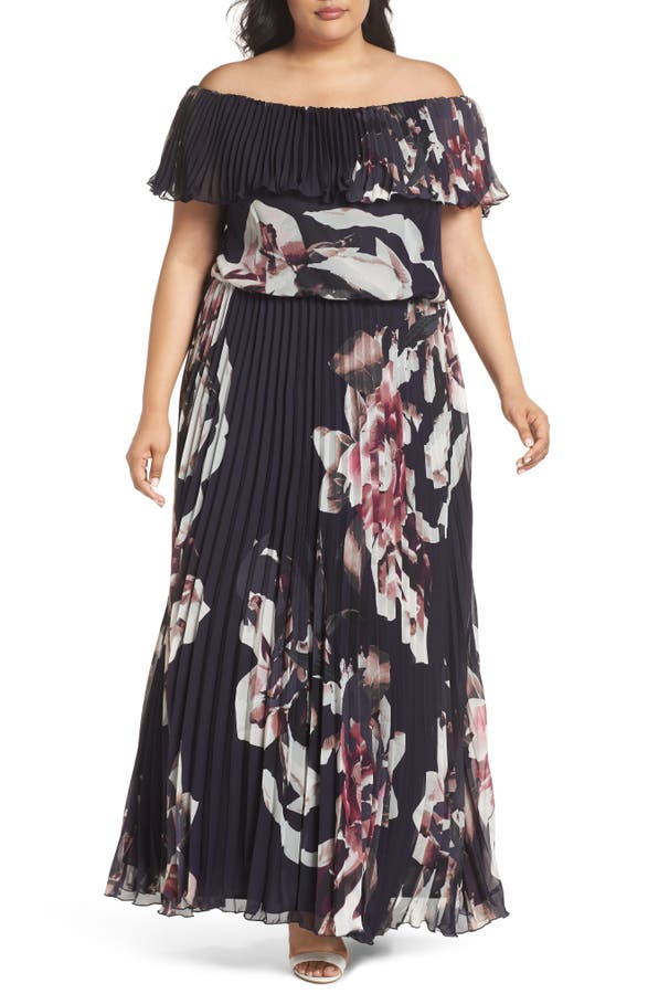 Xscape Floral Pleat Off The Shoulder Ruffle Gown Plus Size Nordstrom