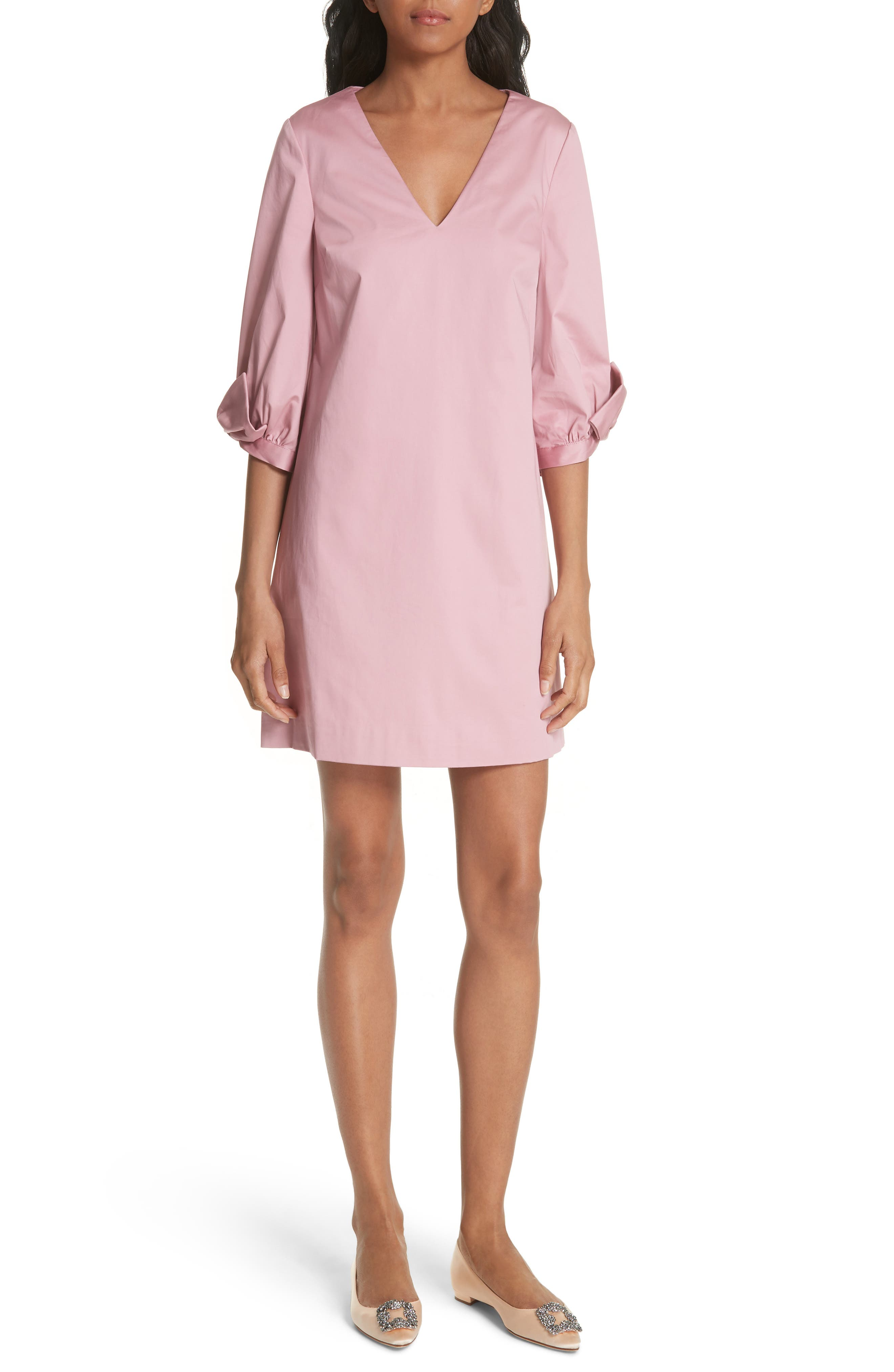 Oversize Sleeve Tunic Dress,                             Main thumbnail 1, color,                             Dusky Pink