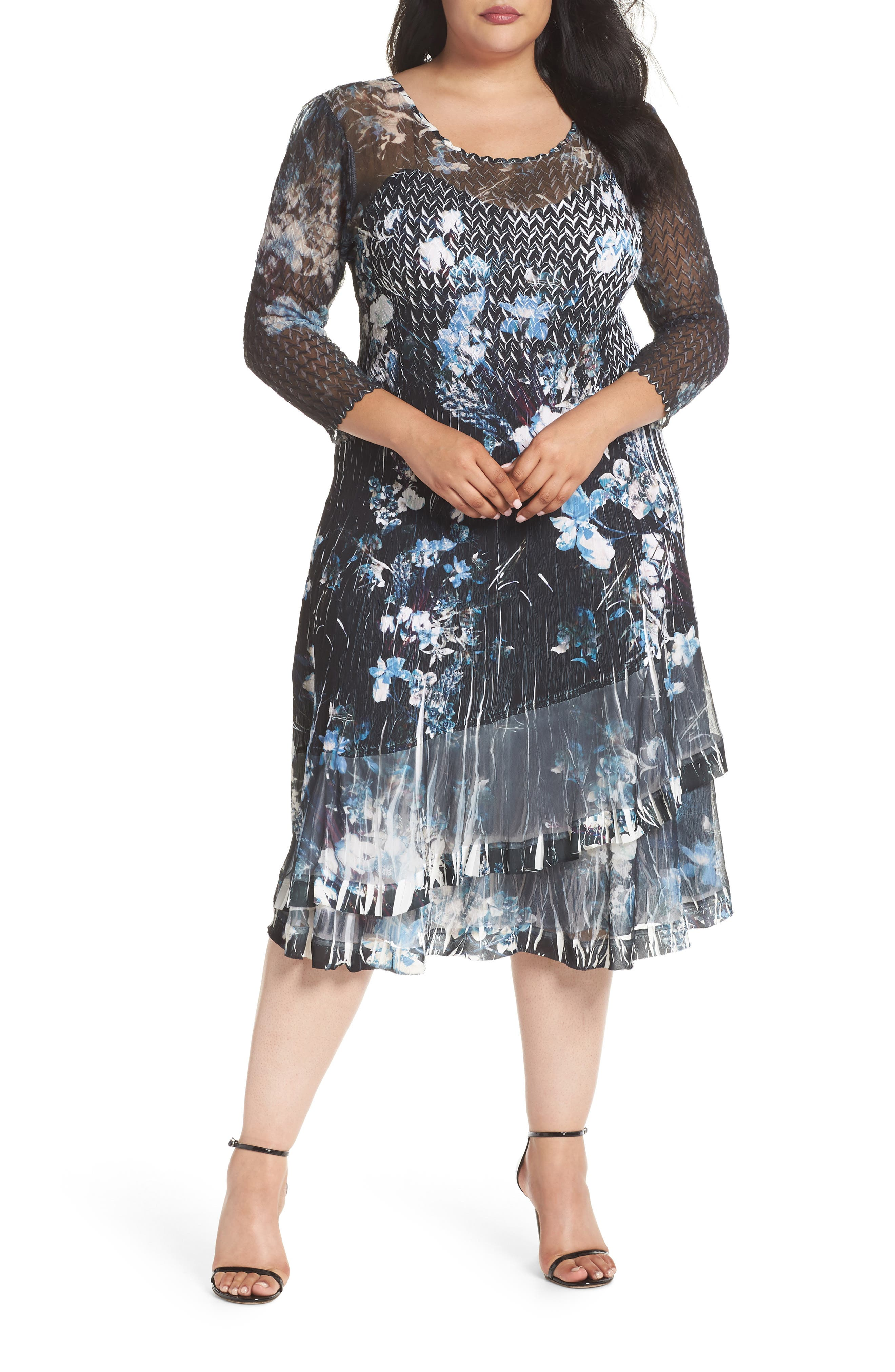 Floral Georgette & Chiffon A-Line Dress,                             Main thumbnail 1, color,                             India Ink