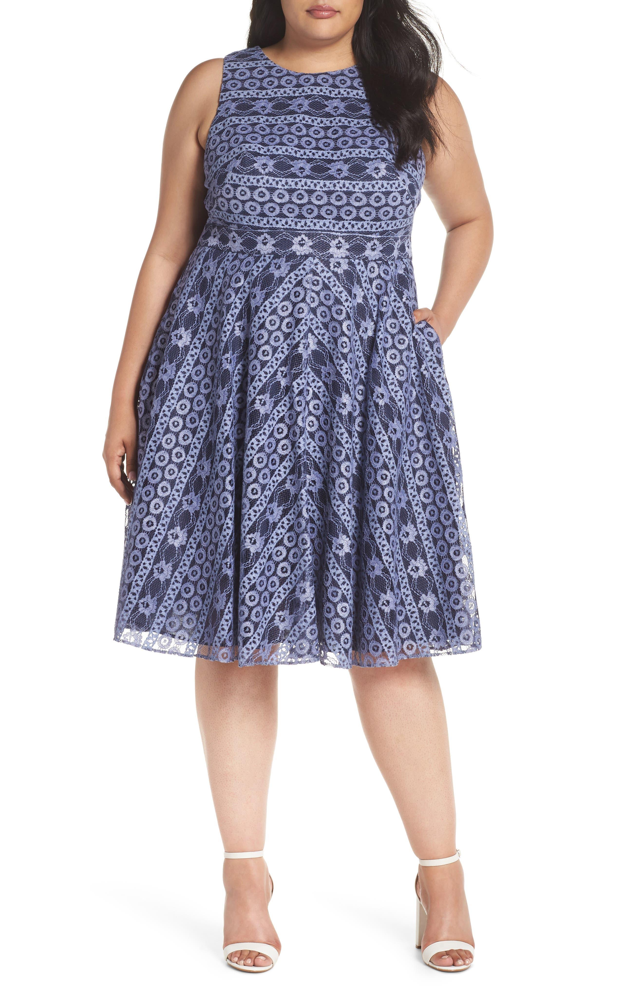 Stripe Lace A-Line Dress,                         Main,                         color, Navy