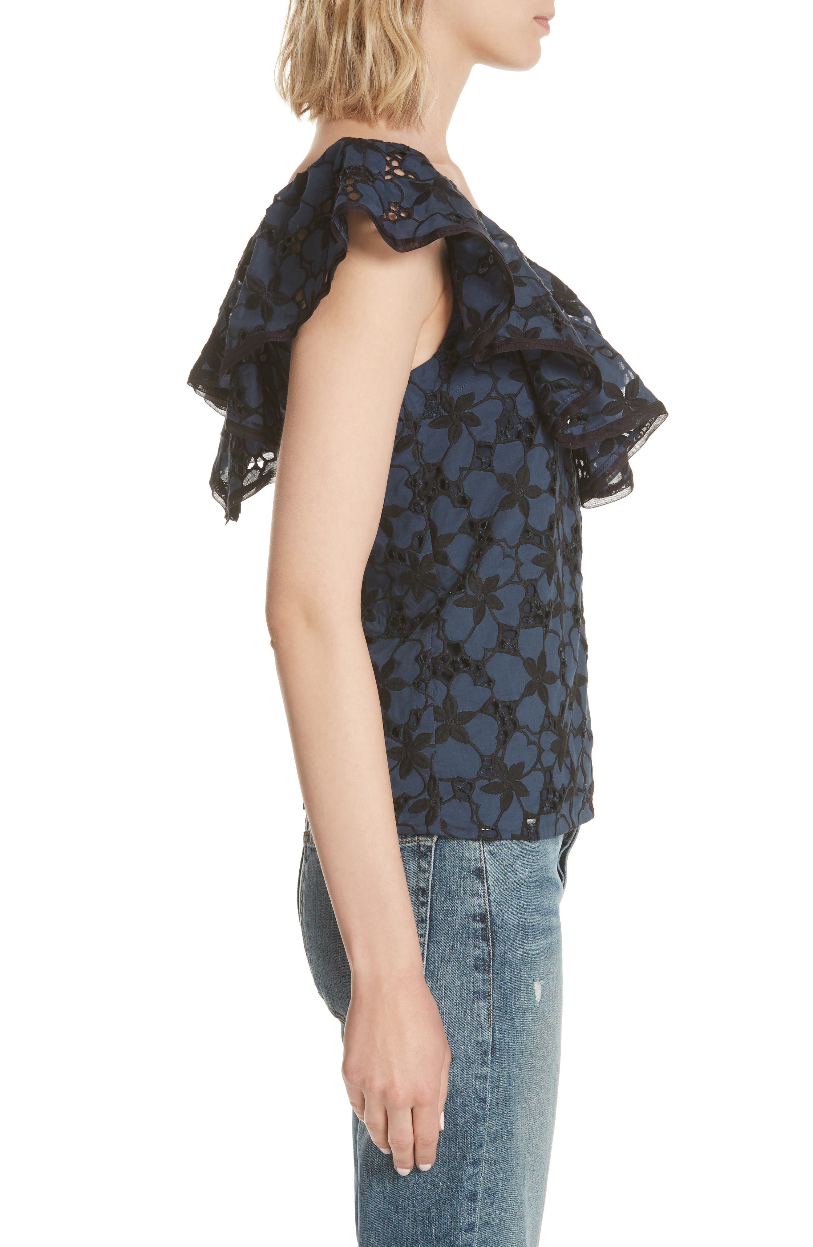 Adriana Embroidered Ruffle Top,                             Alternate thumbnail 3, color,                             Blueberry
