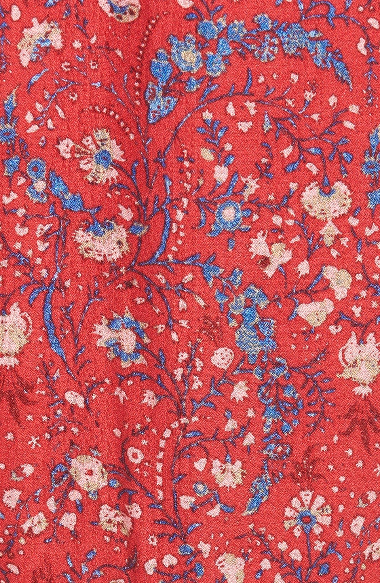 Off the Shoulder Floral Dress,                             Alternate thumbnail 5, color,                             Red Multi