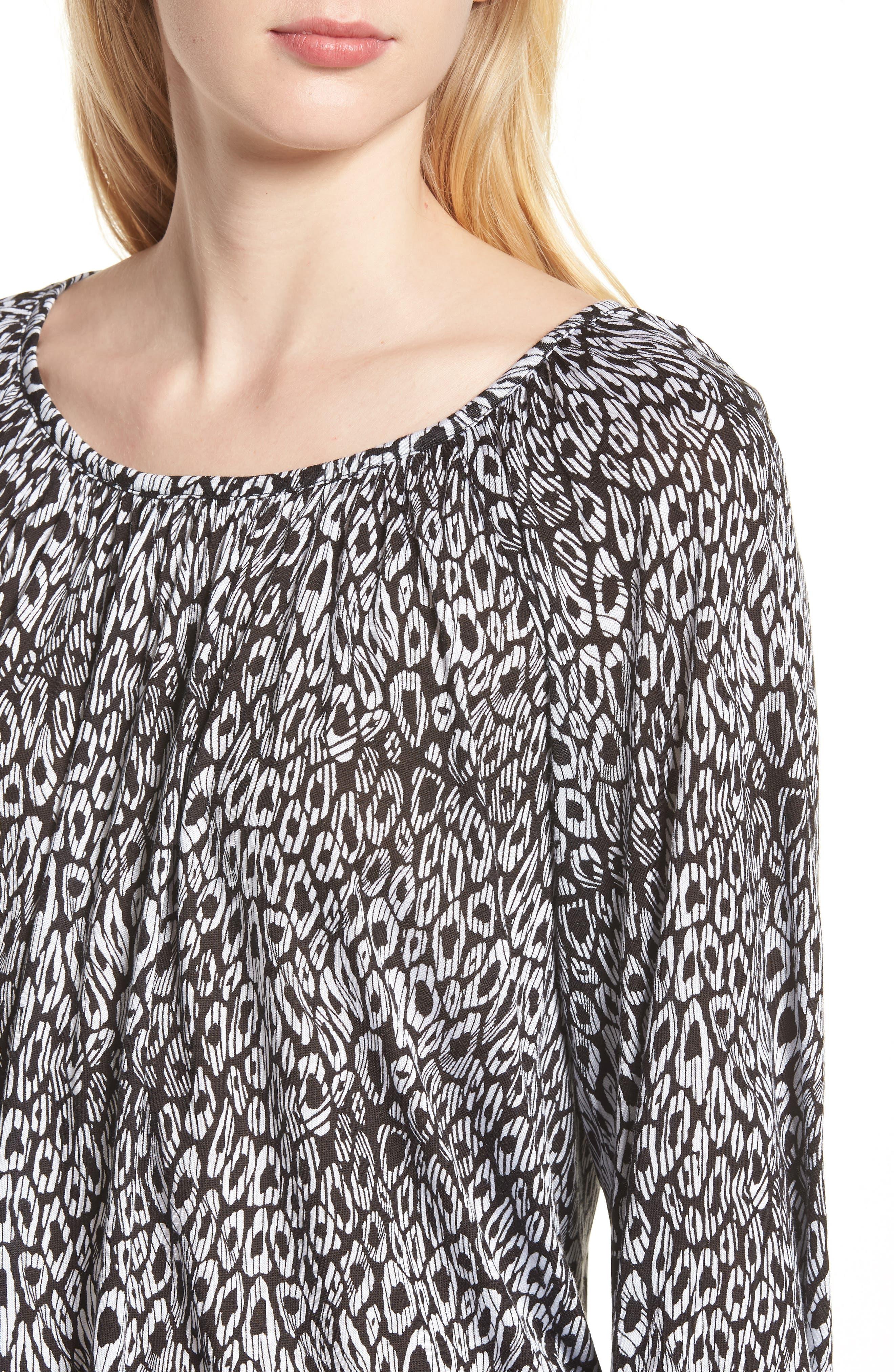 Wavy Leopard Stripe Peasant Top,                             Alternate thumbnail 4, color,                             Black/ White