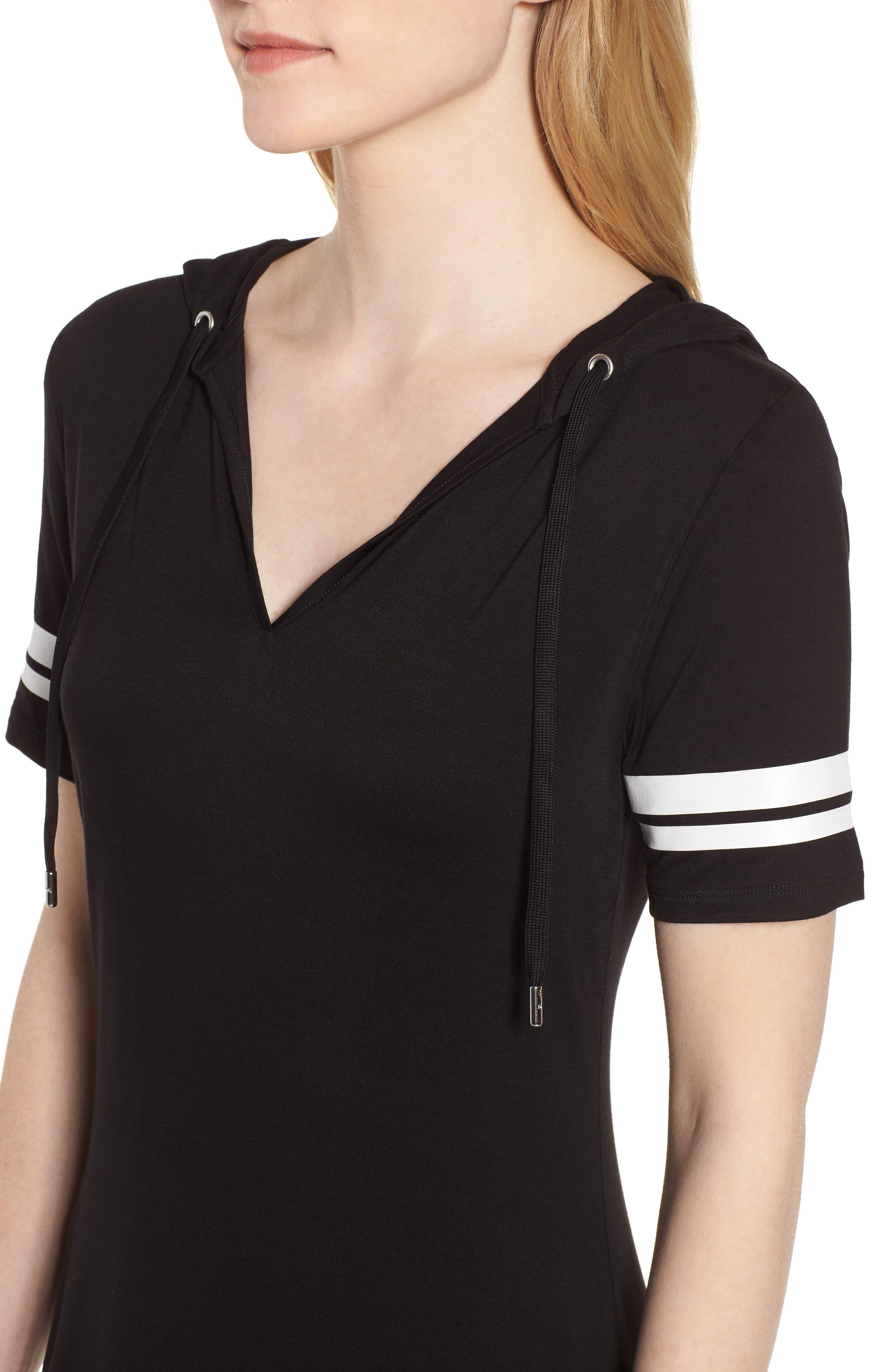 MICHAEL Michal Kors Stripe Sleeve Hoodie Dress,                             Alternate thumbnail 4, color,                             Black