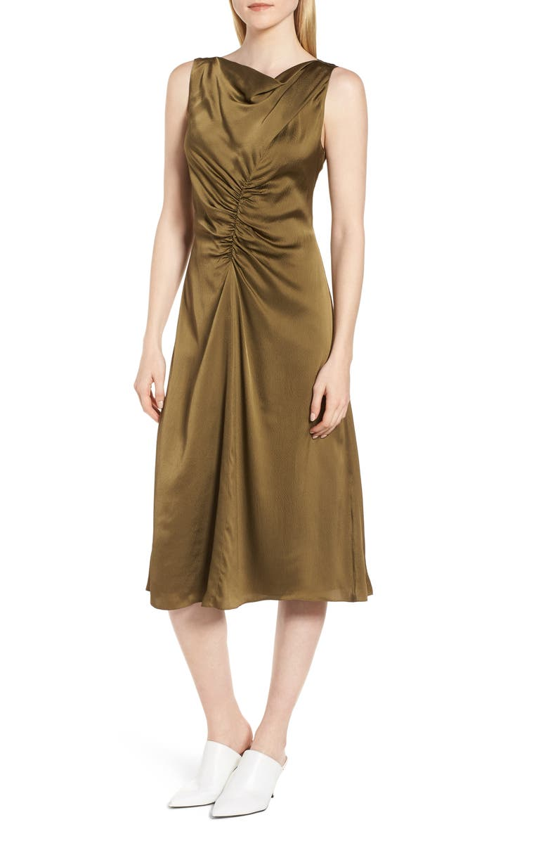 Ruched Cowl Neck Satin Dress