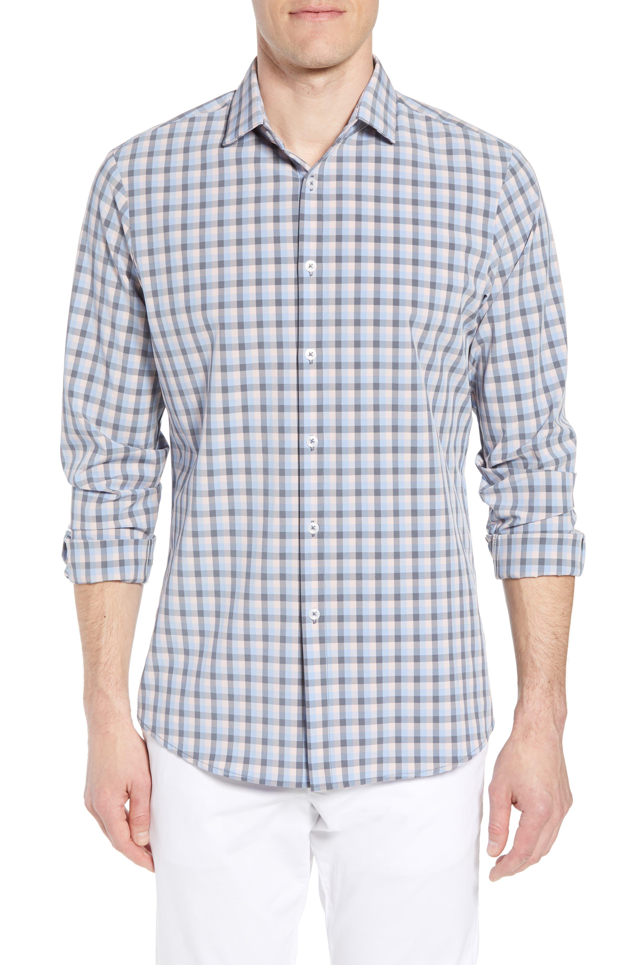 Briscoe Slim Fit Check Performance Sport Shirt,                             Main thumbnail 1, color,                             Pink