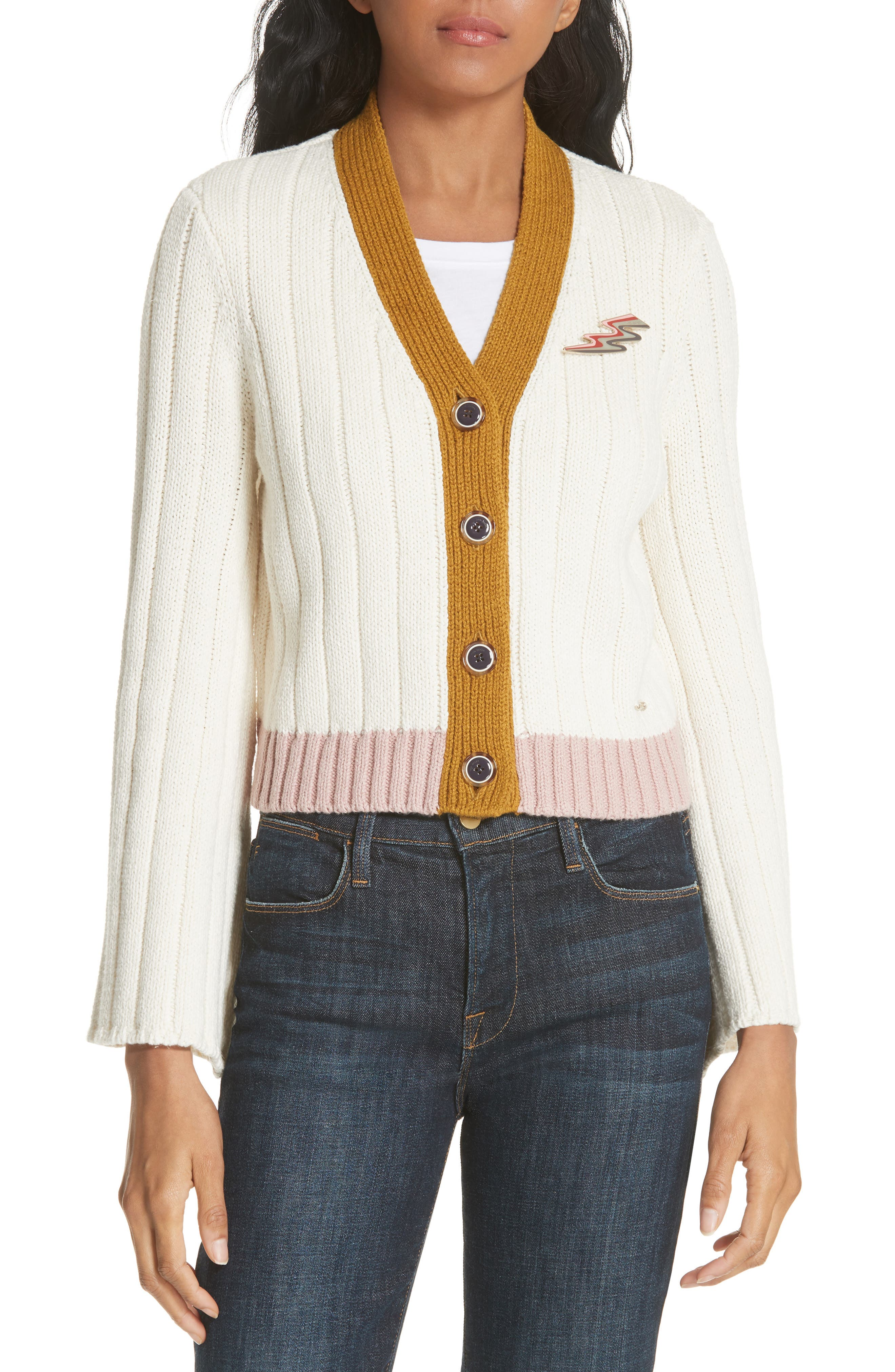 Moala Colorblock Cardigan,                         Main,                         color, Cream