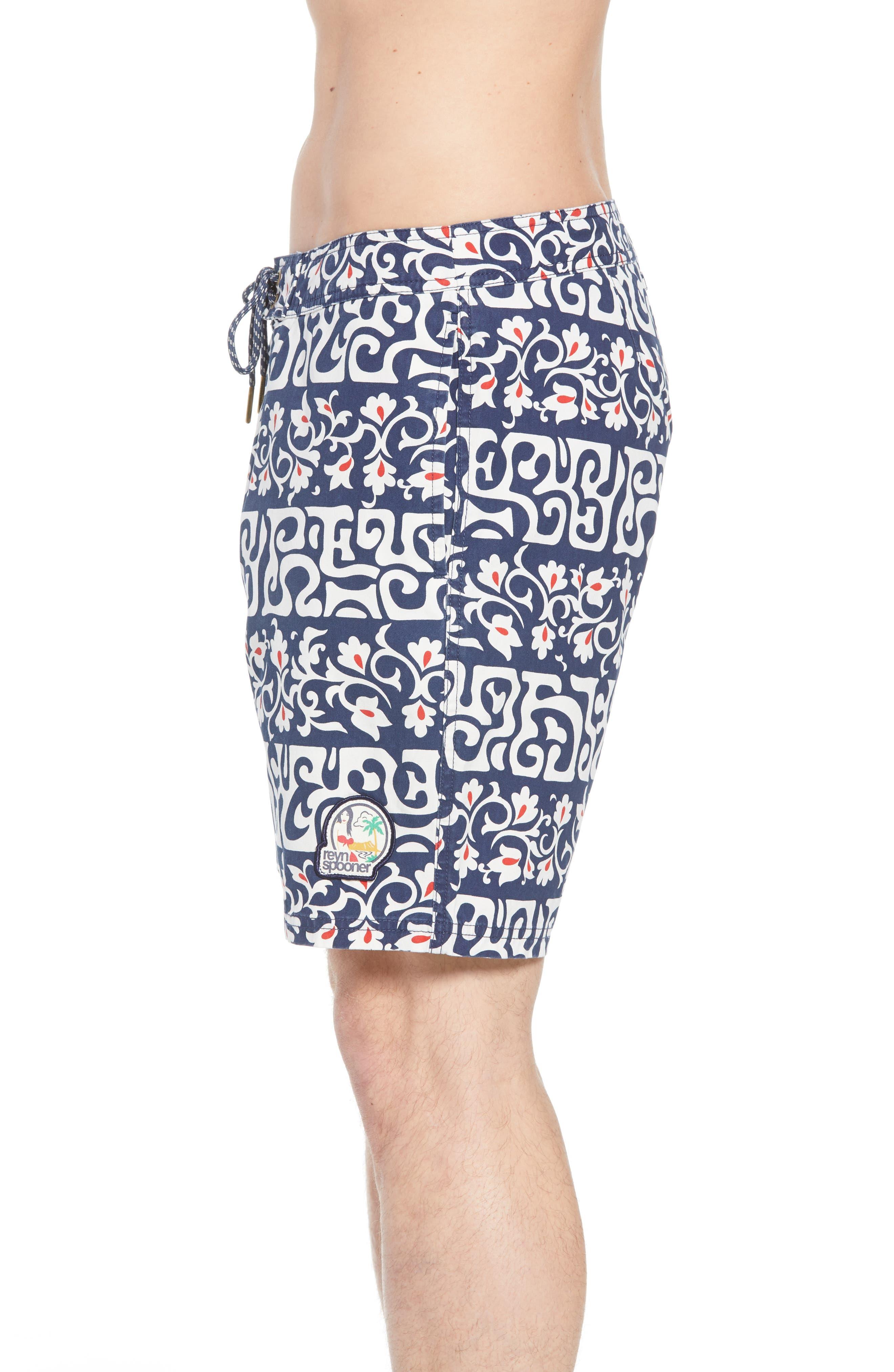 Tahitian Reyn Board Shorts,                             Alternate thumbnail 3, color,                             Blue