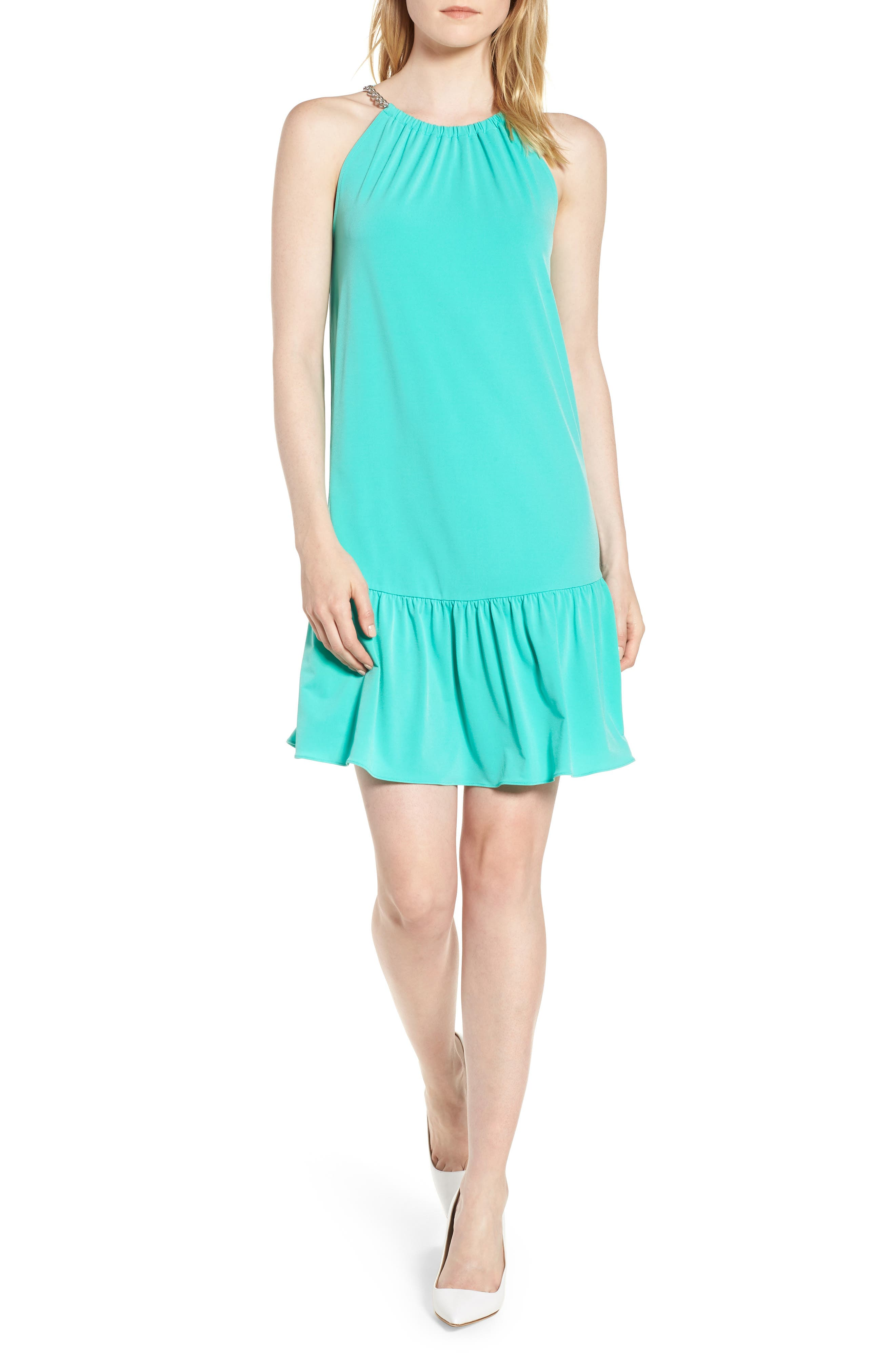 Chain Detail Halter Dress,                             Main thumbnail 1, color,                             Aqua