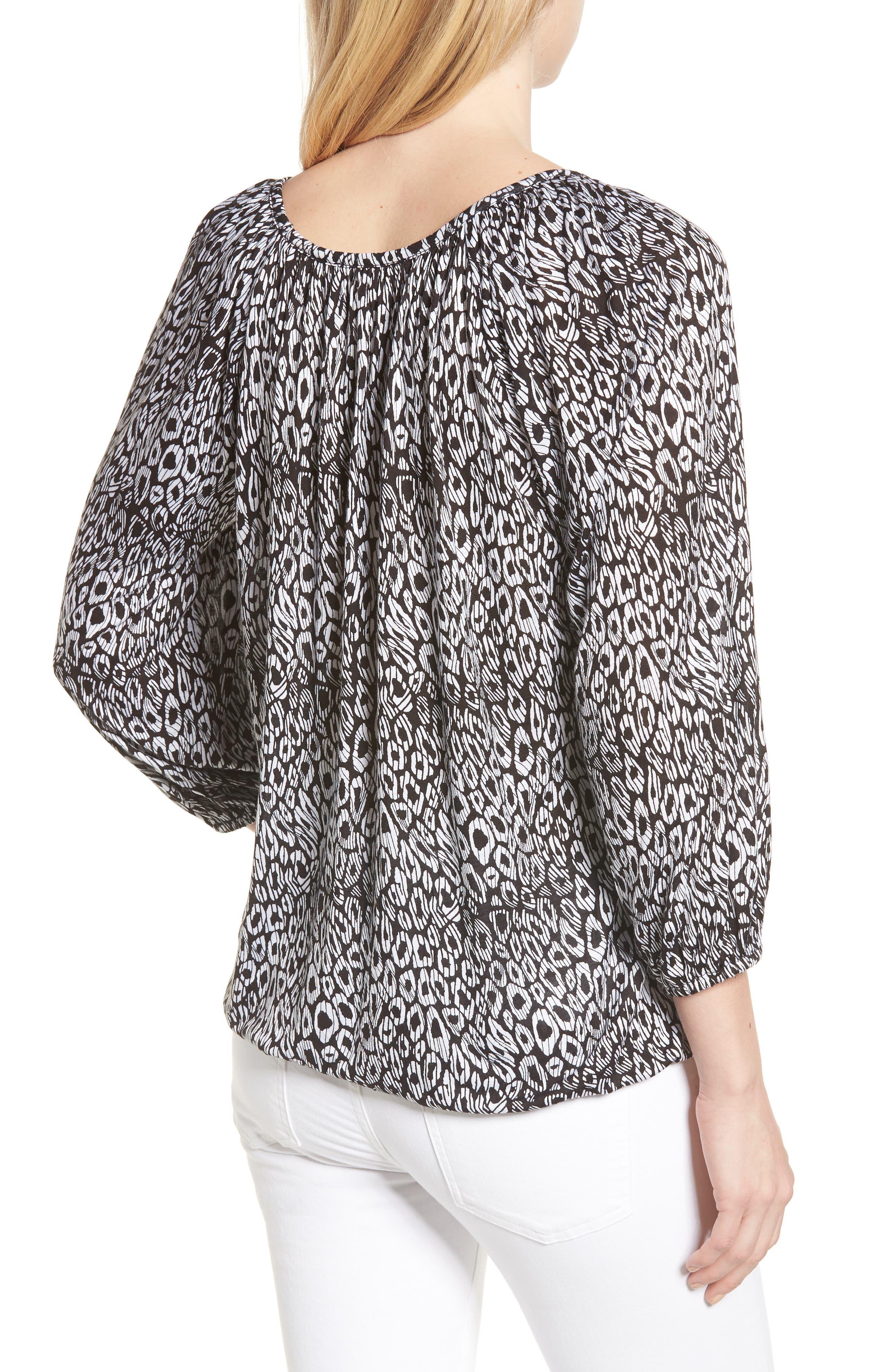Wavy Leopard Stripe Peasant Top,                             Alternate thumbnail 2, color,                             Black/ White