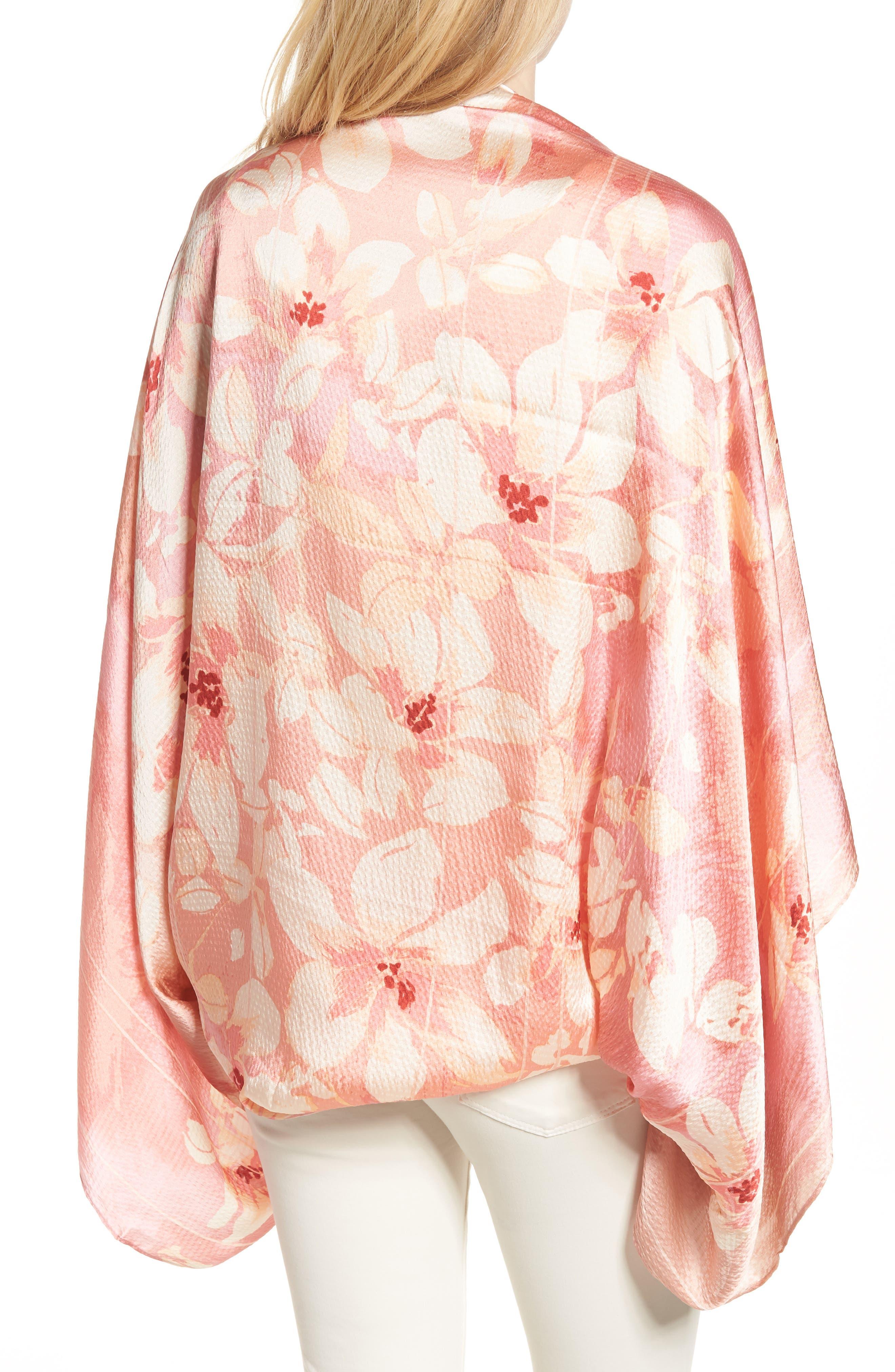 Silk Shrug Kimono,                             Alternate thumbnail 2, color,                             Pink Jardin Secret