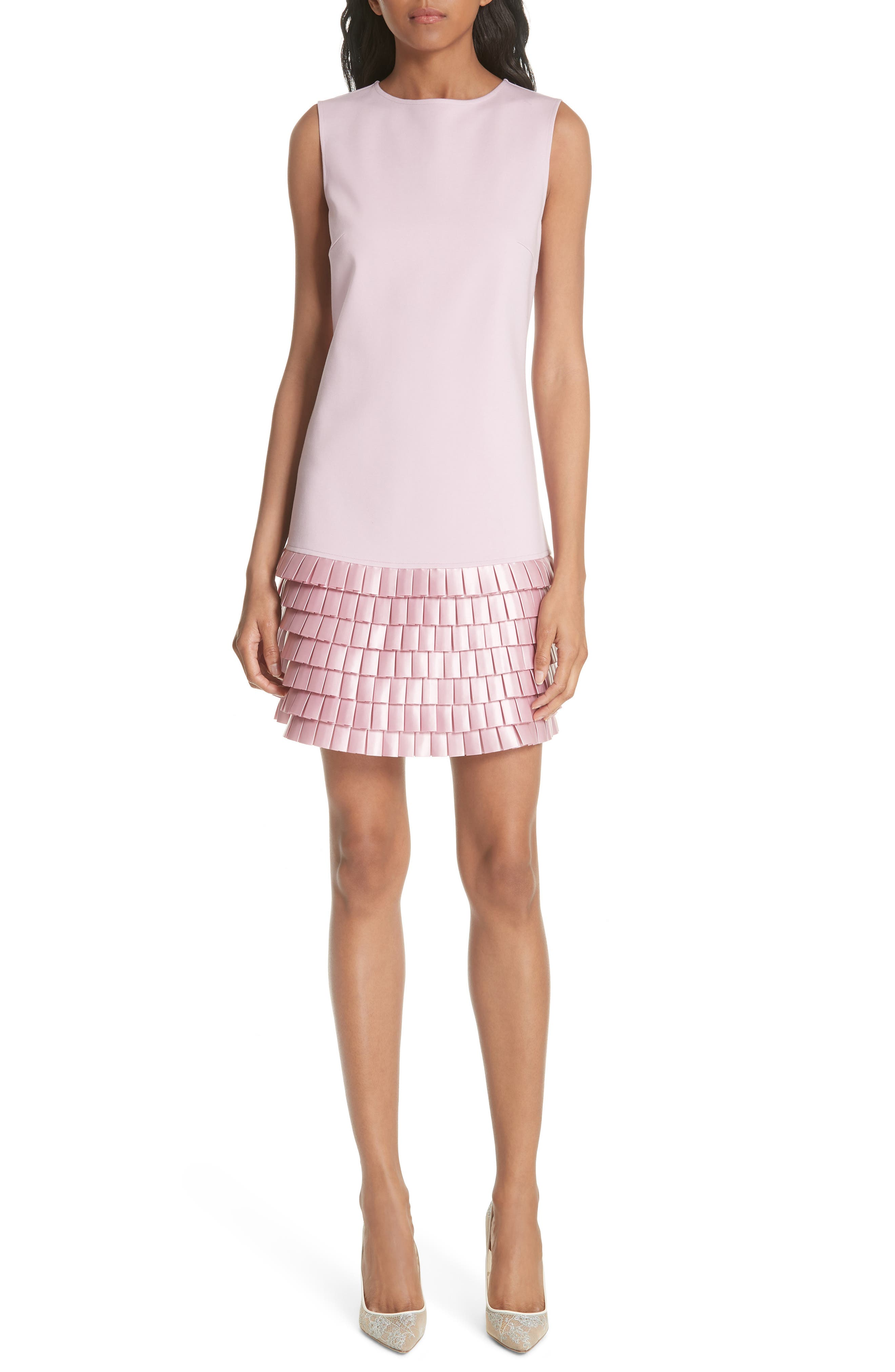 Satin Pleat Detail Shift Dress,                             Main thumbnail 1, color,                             Pale Pink