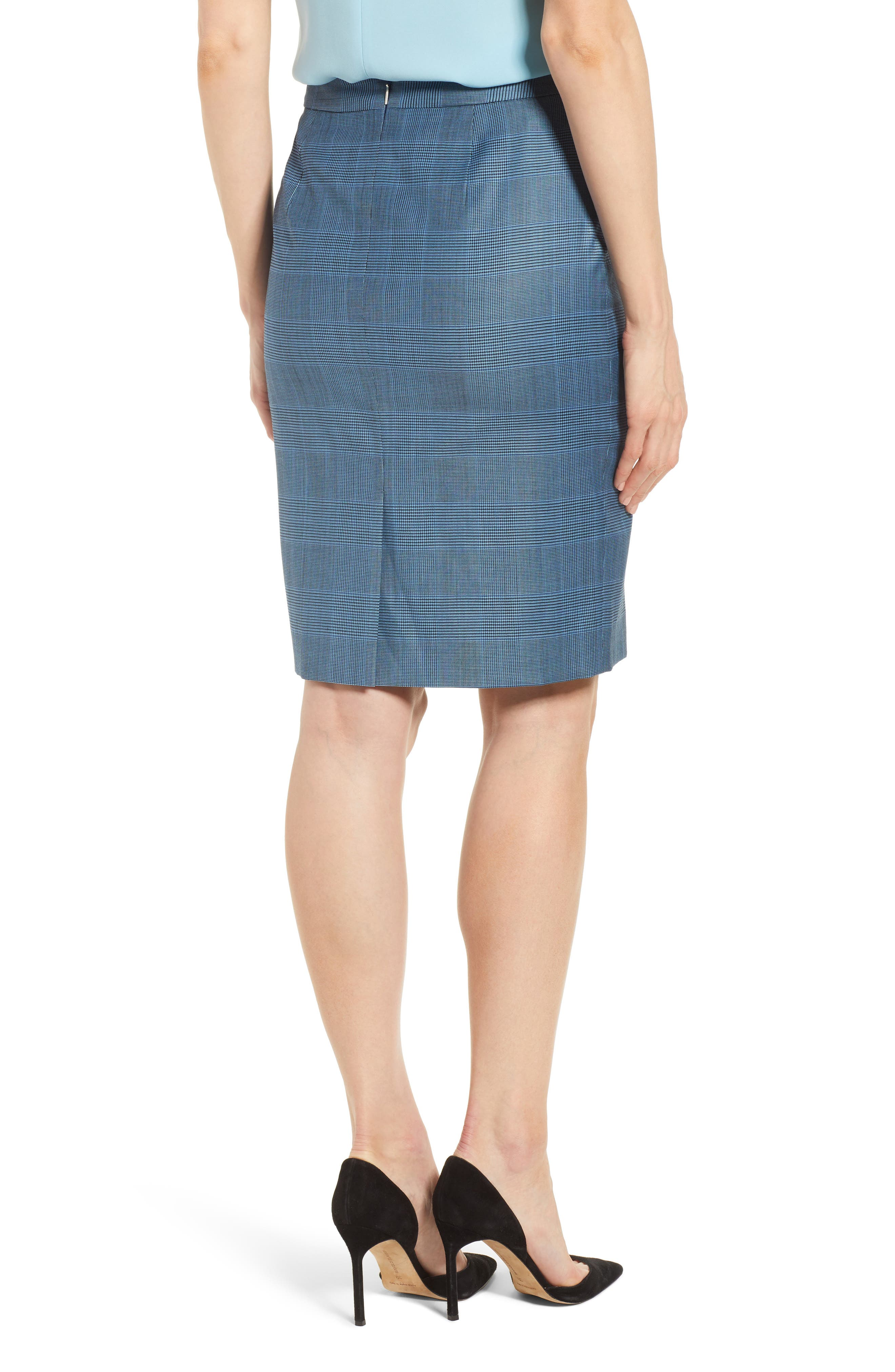 Vimena Glencheck Stretch Wool Pencil Skirt,                             Alternate thumbnail 2, color,                             Sailor Blue Fantasy
