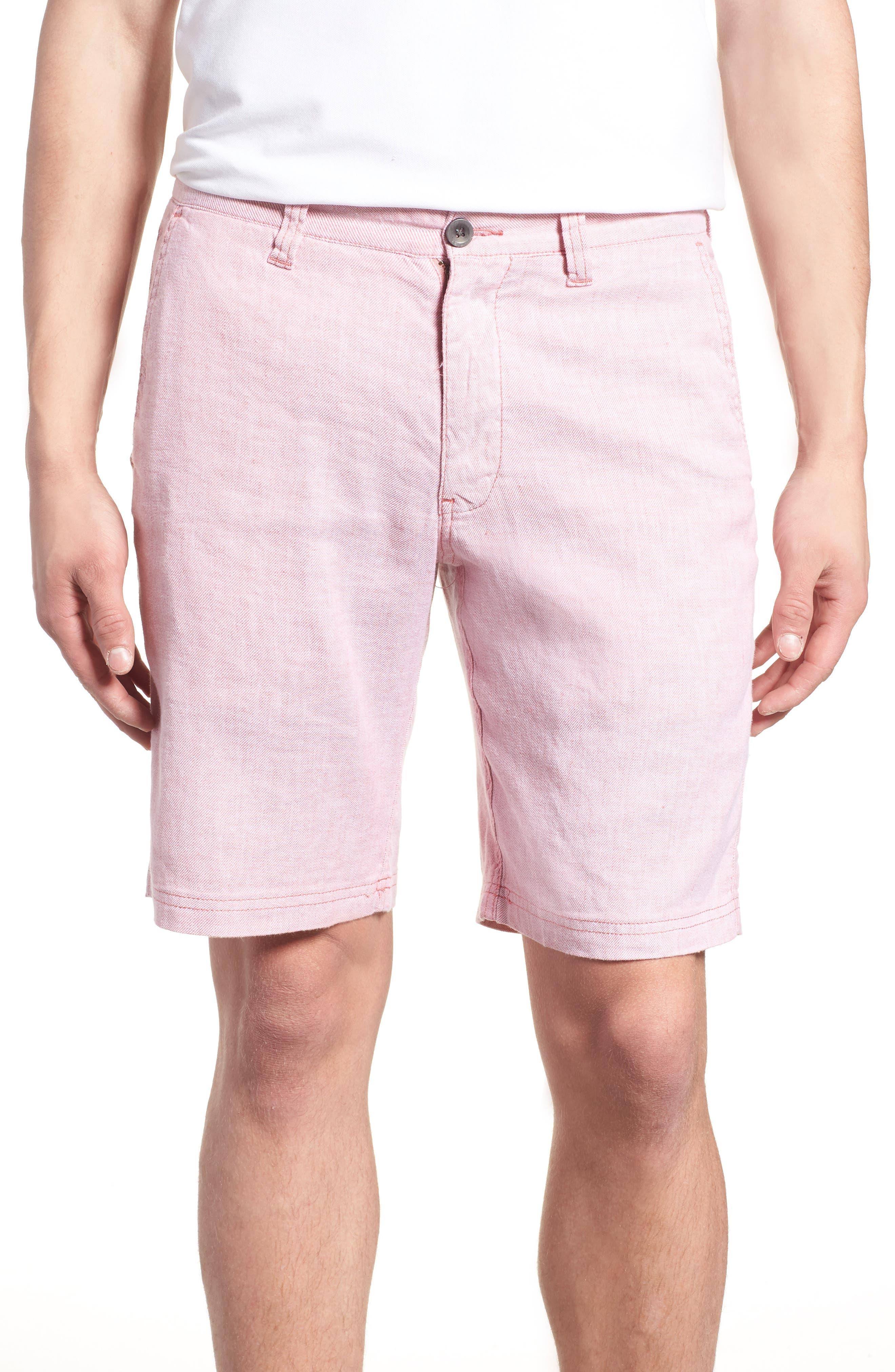 Beach Linen Blend Shorts,                             Main thumbnail 1, color,                             Red Sunset