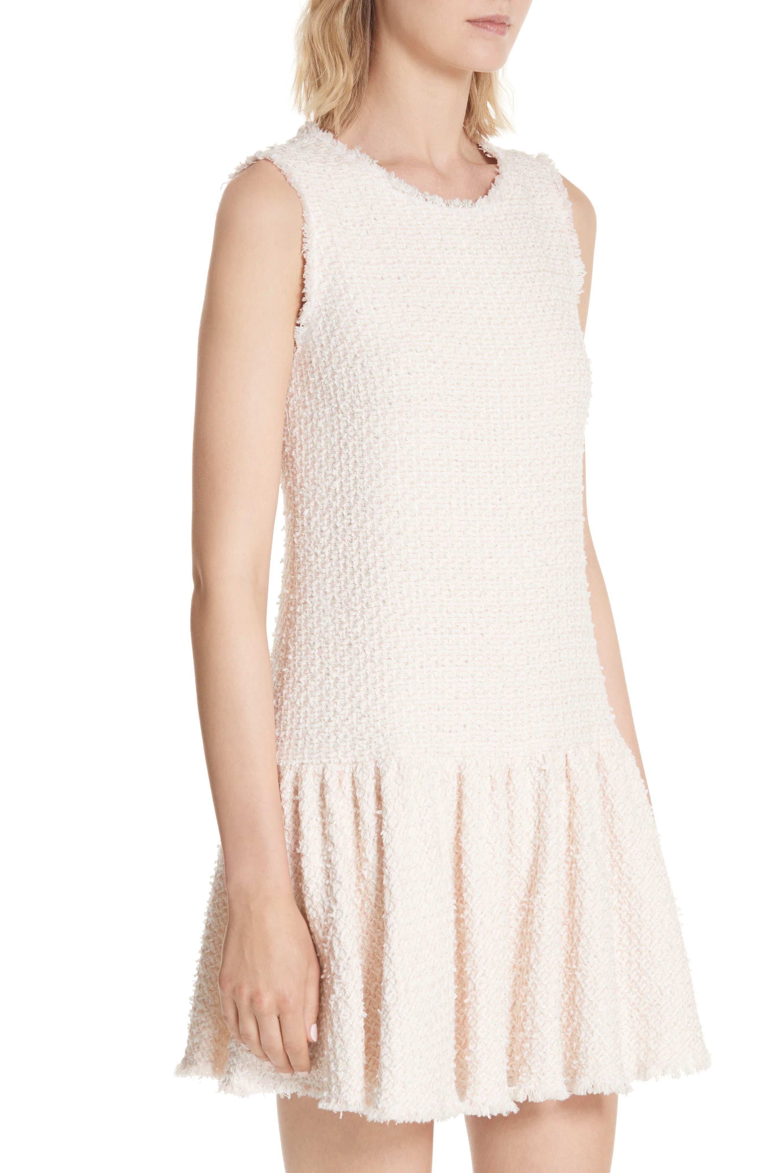 Drop Waist Tweed Dress,                             Alternate thumbnail 4, color,                             Powder Pink