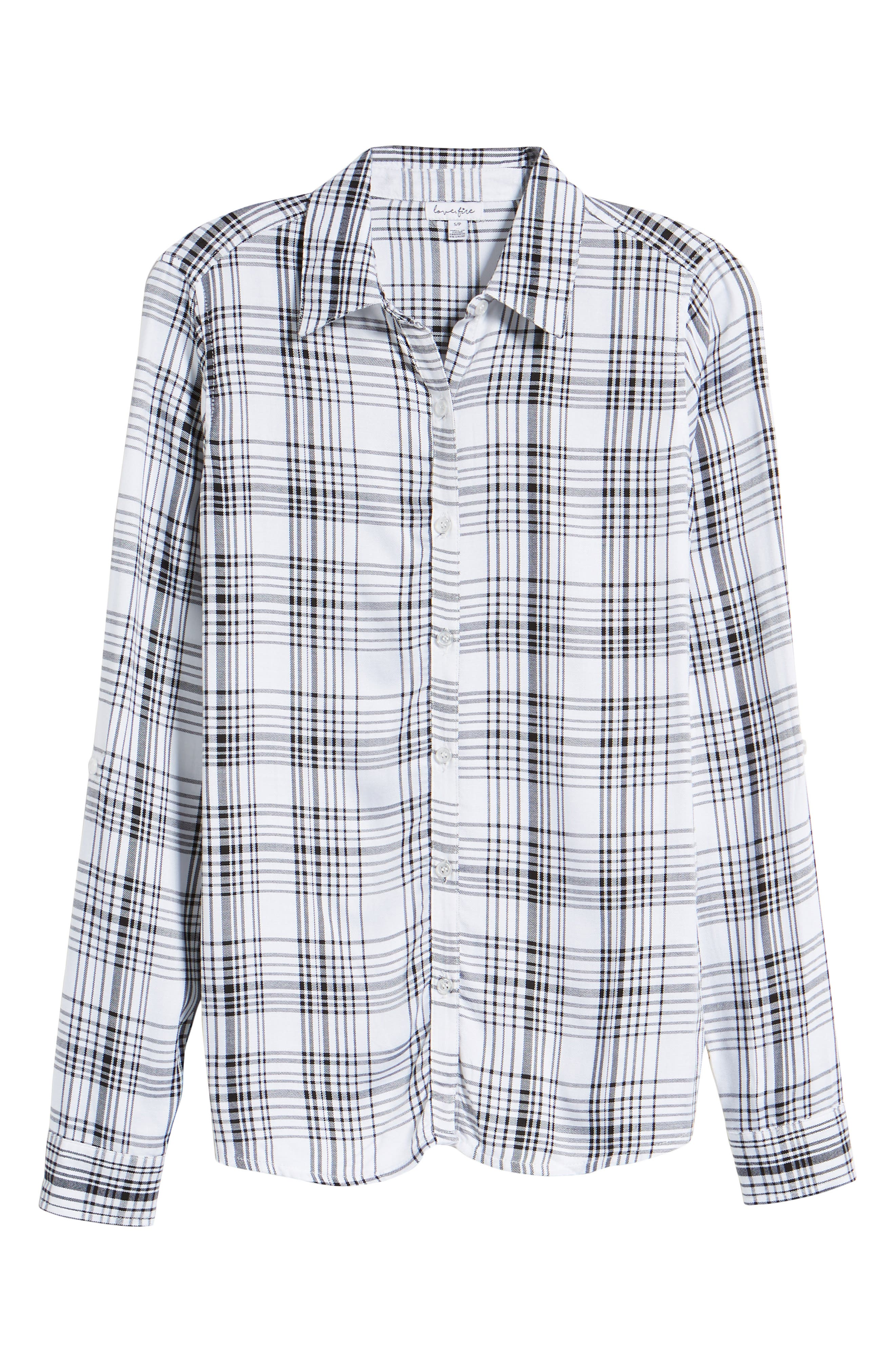 Roll-Tab Shirt,                             Alternate thumbnail 7, color,                             Black White Plaid