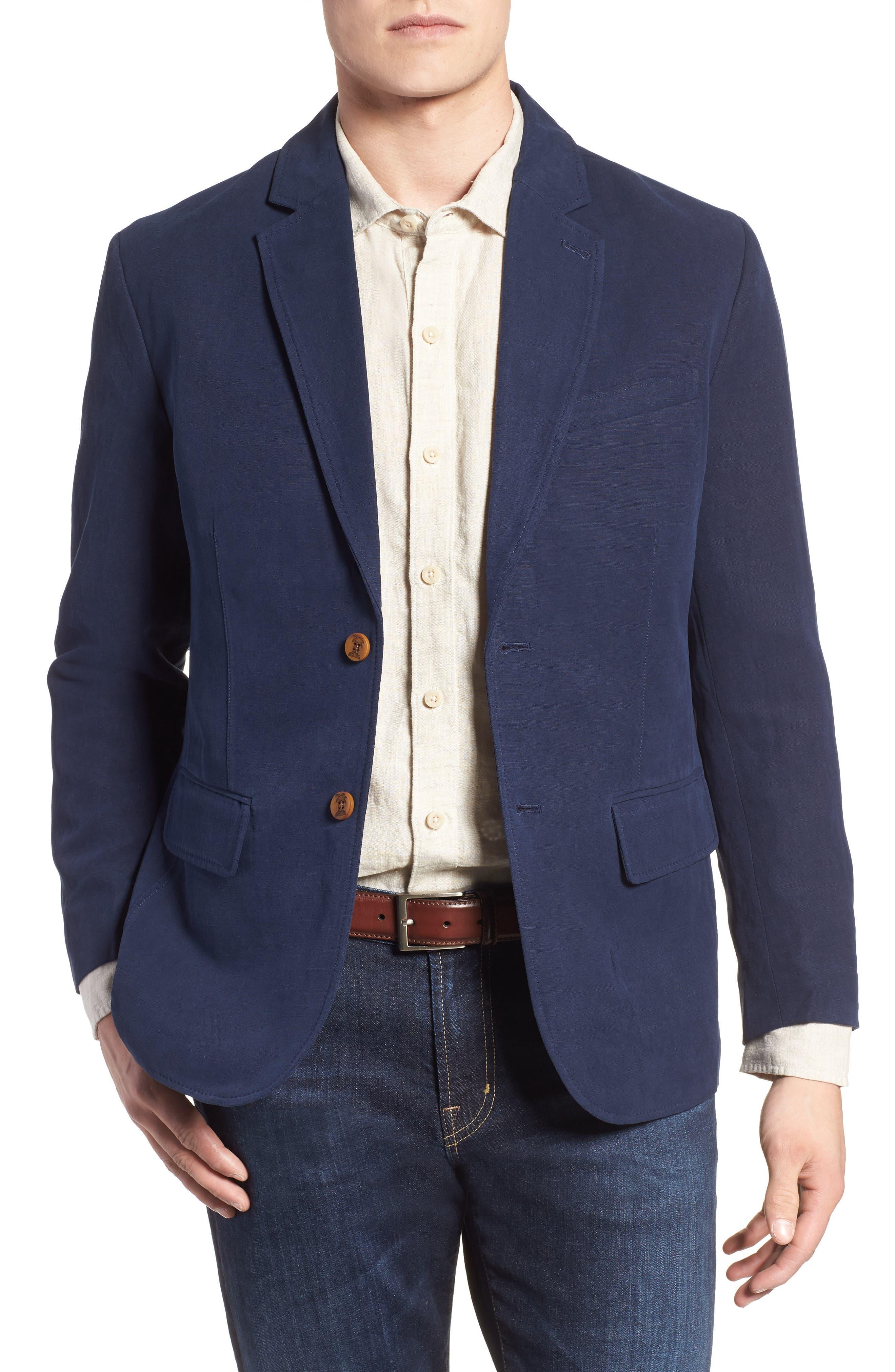 Monterey Silk & Linen Blazer,                             Main thumbnail 1, color,                             Ocean Deep