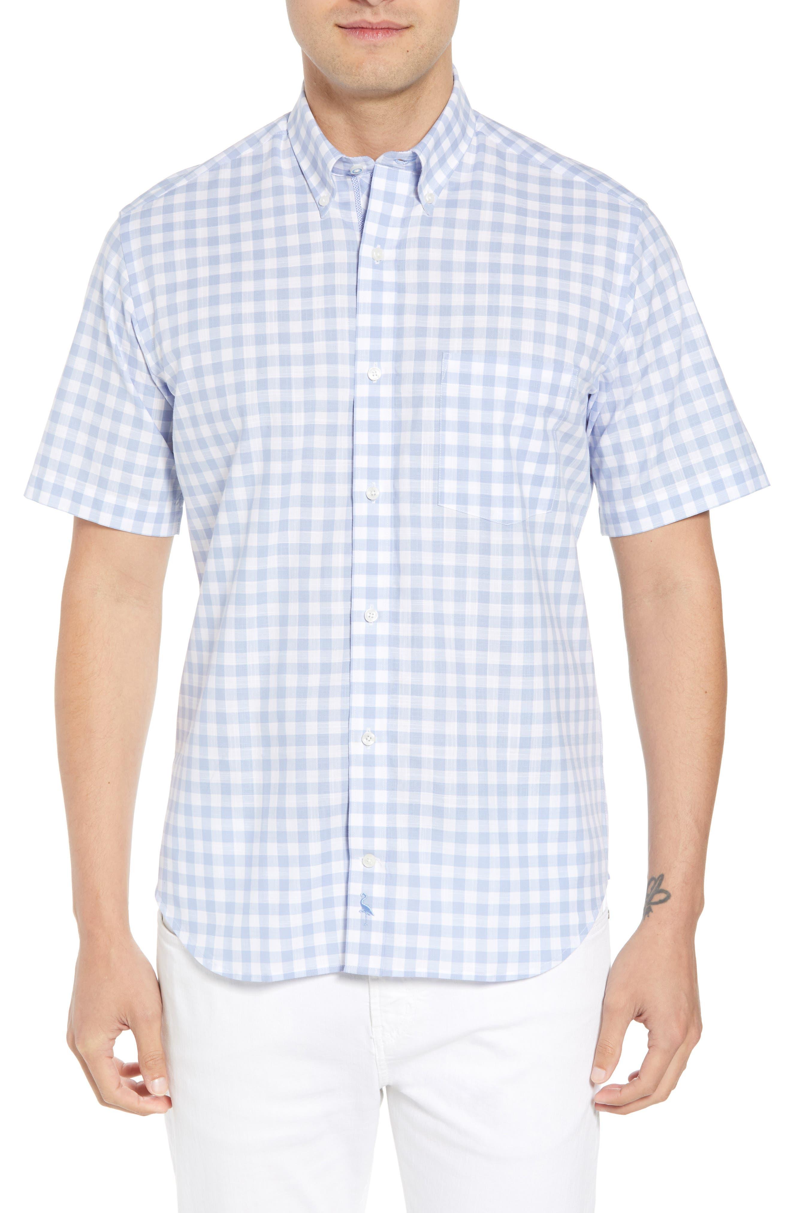 Hawes Regular Fit Check Sport Shirt,                         Main,                         color, Light Blue