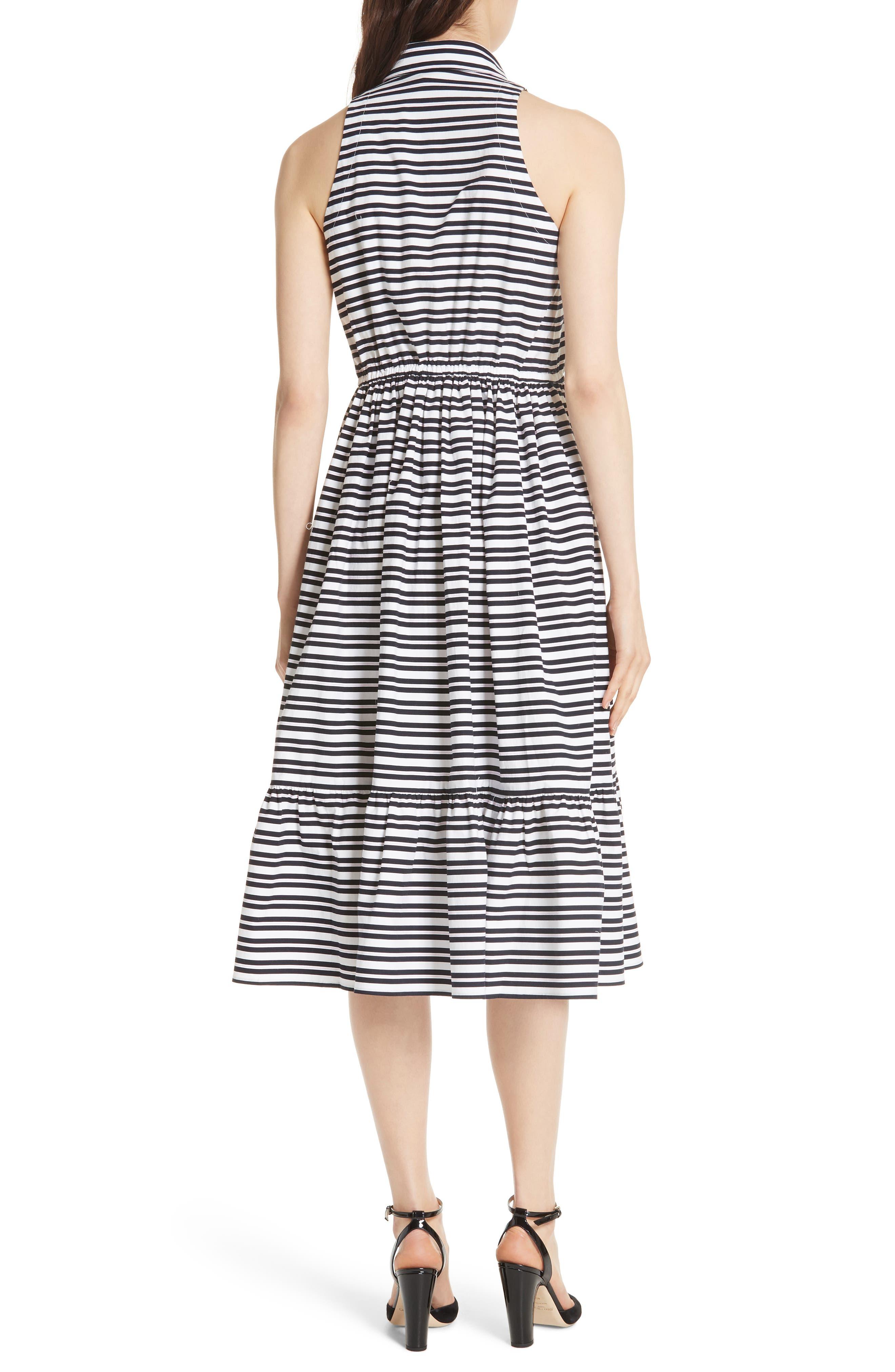 candy stripe stretch cotton shirtdress,                             Alternate thumbnail 2, color,                             Rich Navy